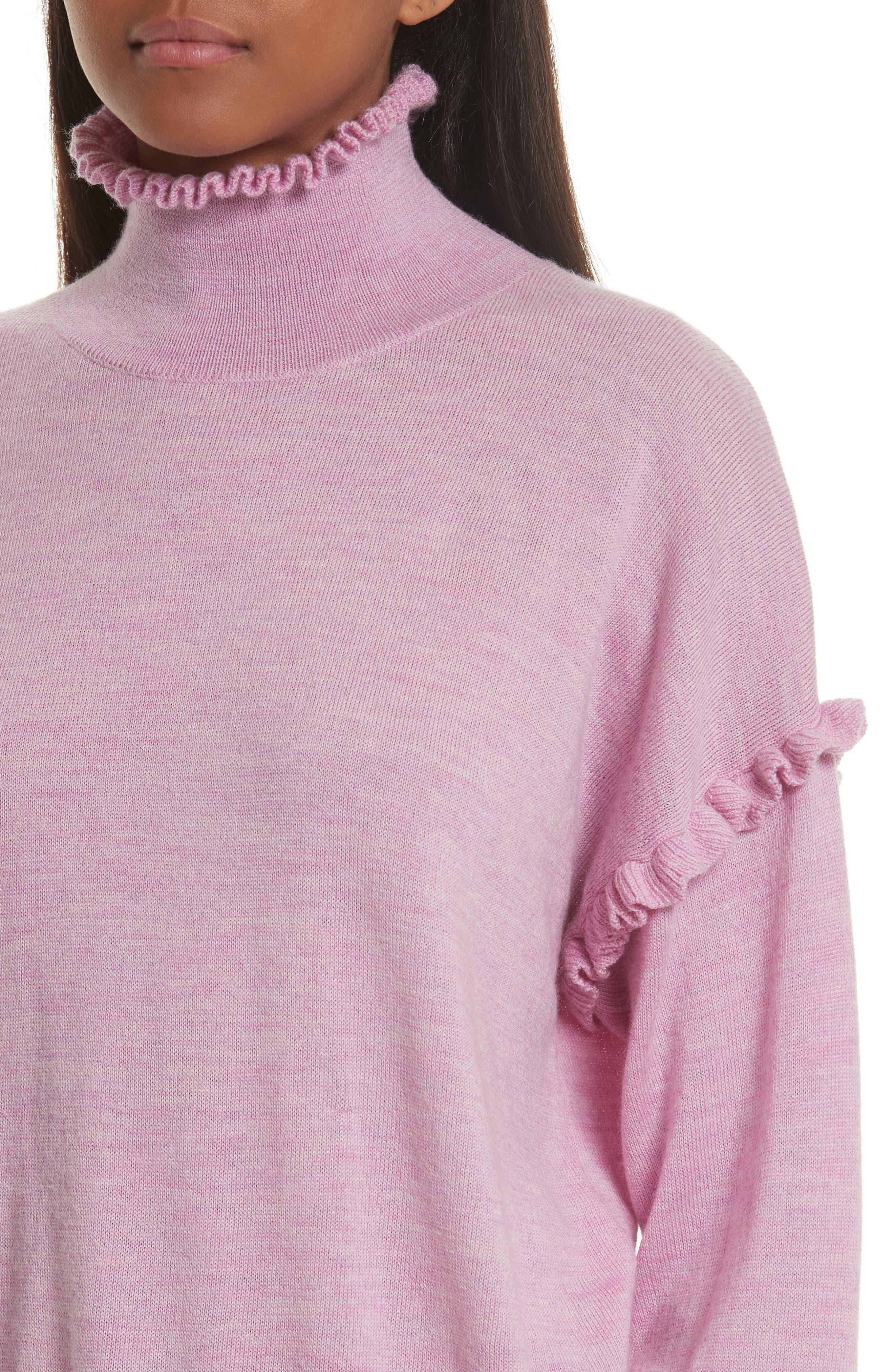Turtleneck Merino Wool Sweater,                             Alternate thumbnail 4, color,