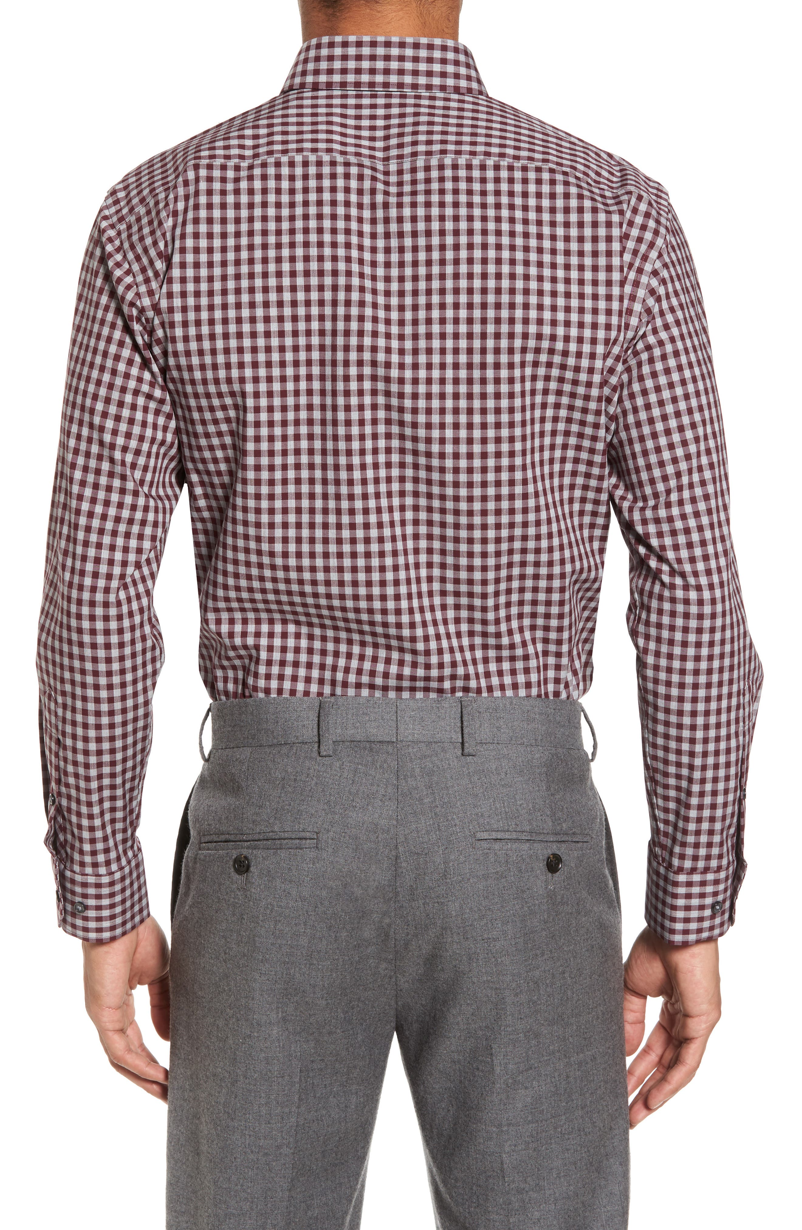 Trim Fit No-Iron Check Stretch Dress Shirt,                             Alternate thumbnail 2, color,                             930