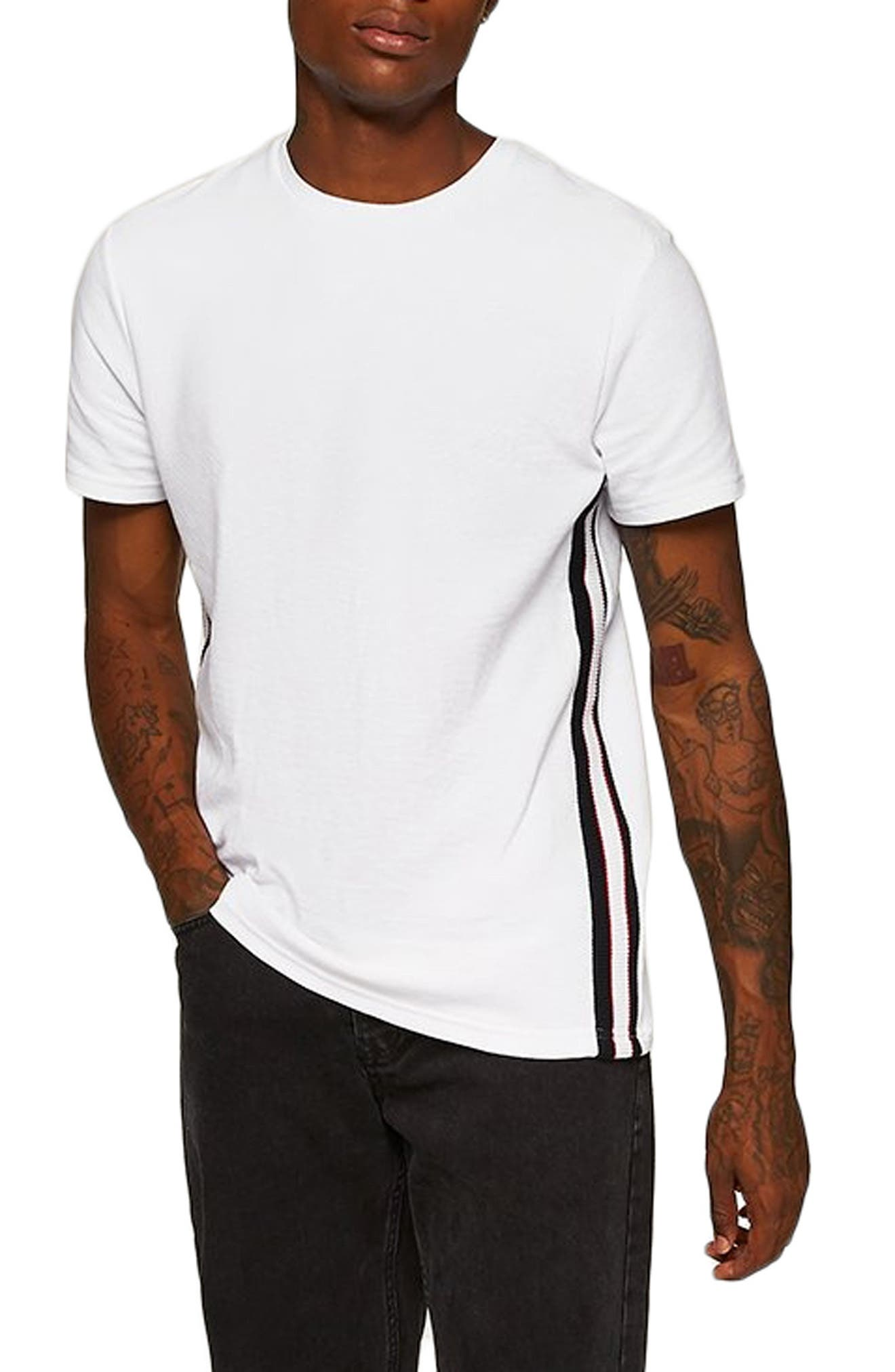 Otto Slim Fit Side Tape T-Shirt,                         Main,                         color, 100