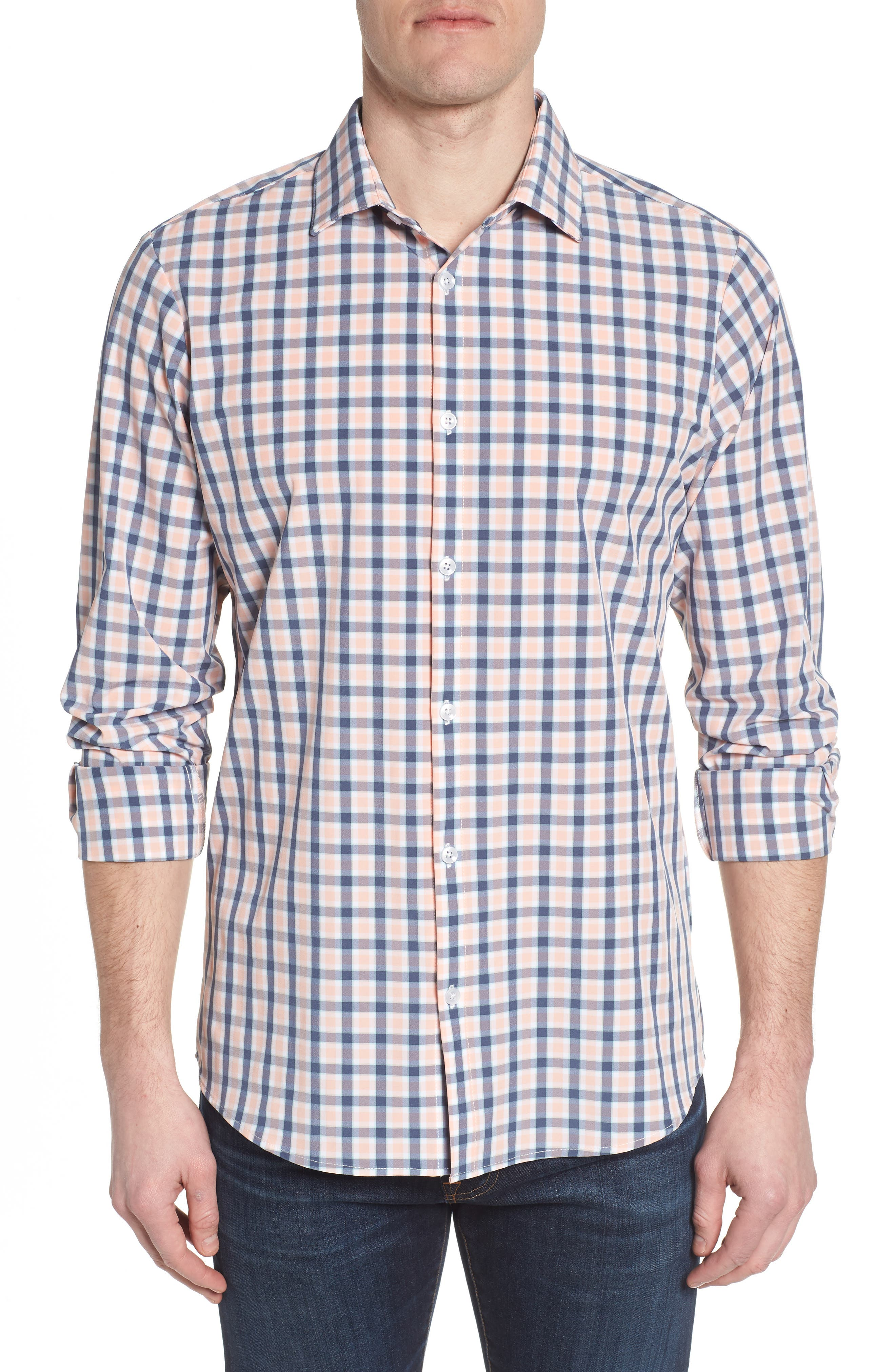 Brooks Check Performance Sport Shirt,                         Main,                         color,