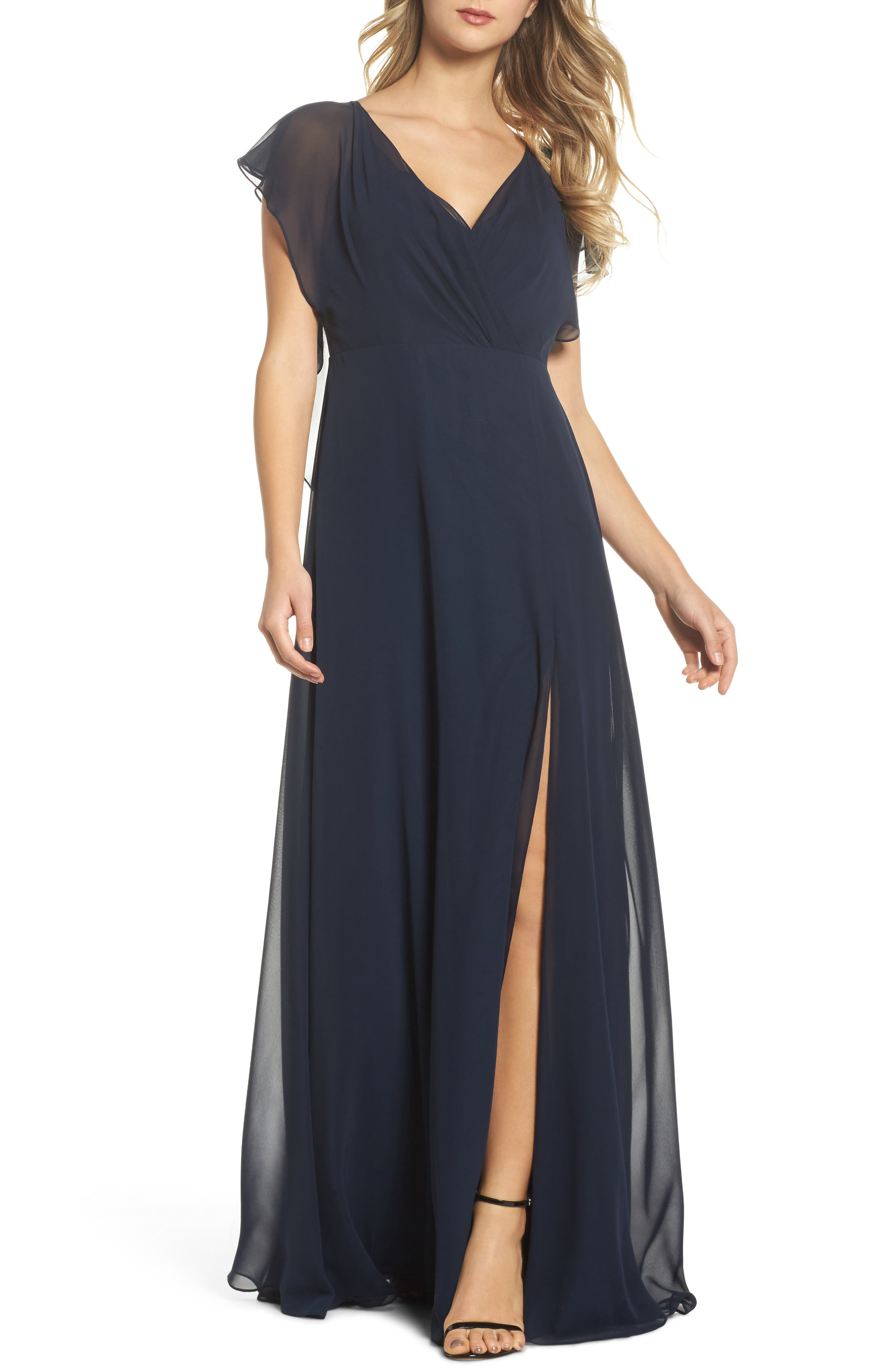 Alanna Open Back Chiffon Gown,                             Main thumbnail 1, color,                             NAVY