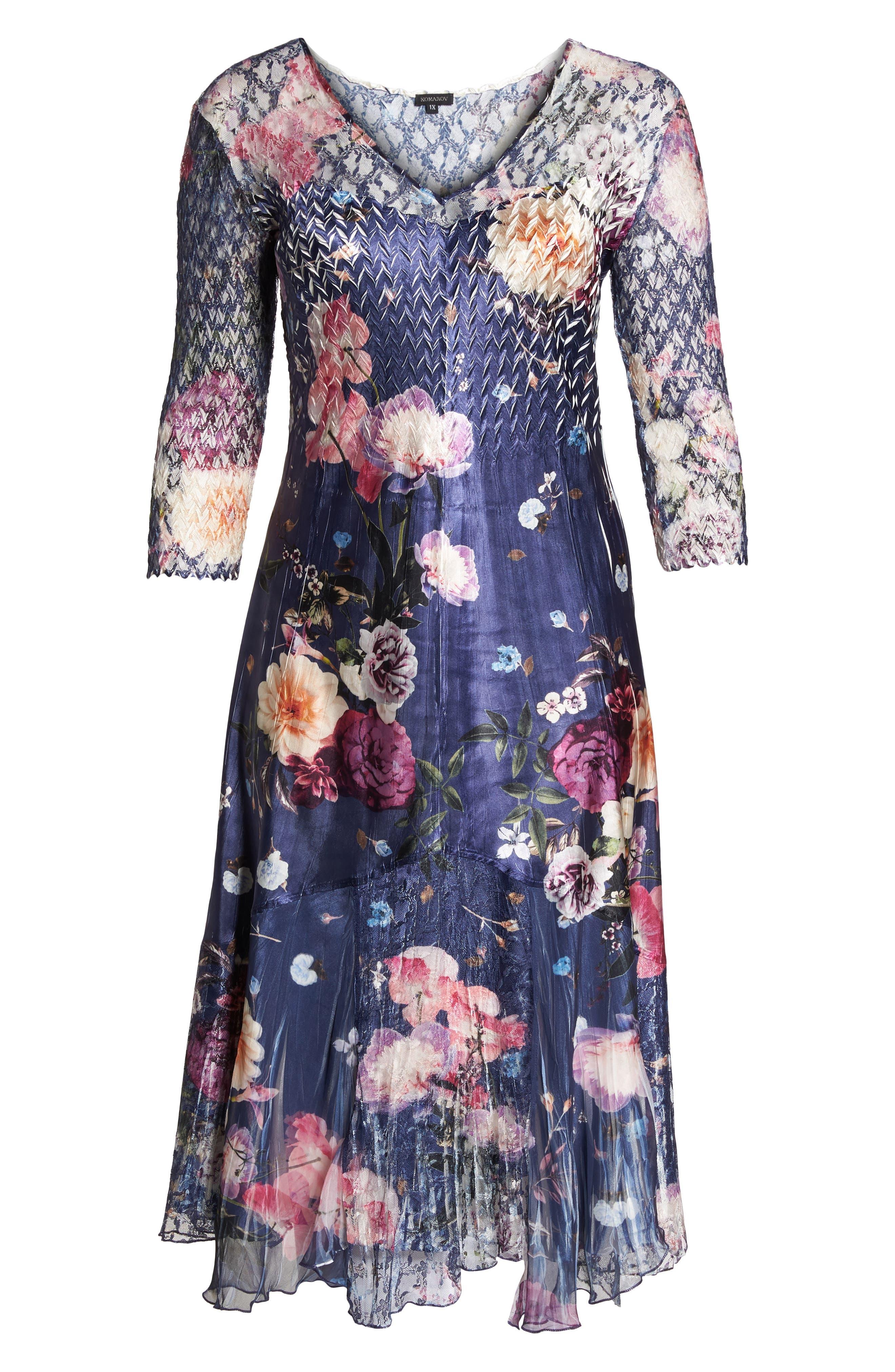 Koramov Floral Print Lace Inset Dress,                             Alternate thumbnail 6, color,                             500