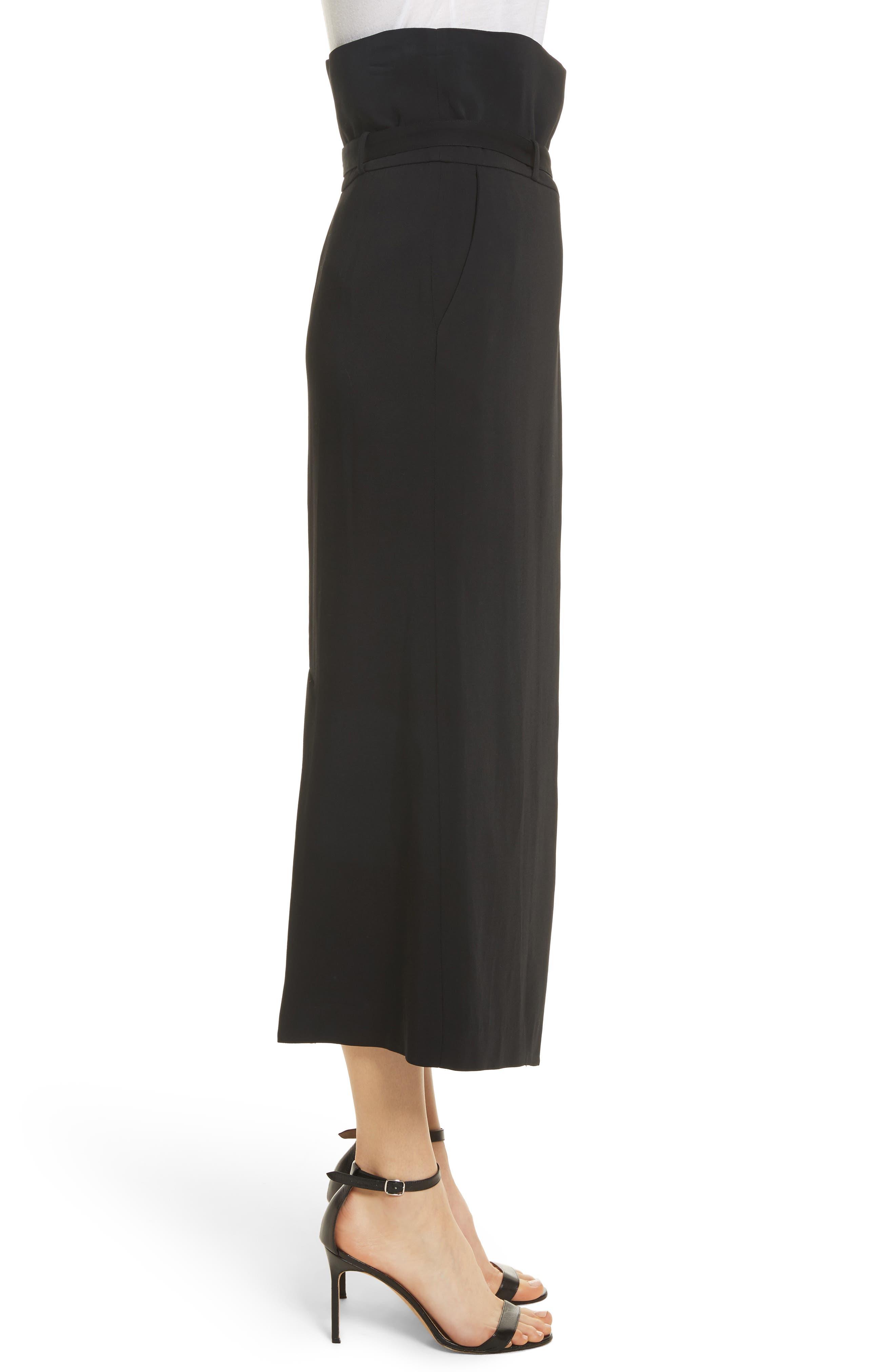 Paperbag Waist Split Front Skirt,                             Alternate thumbnail 3, color,                             001