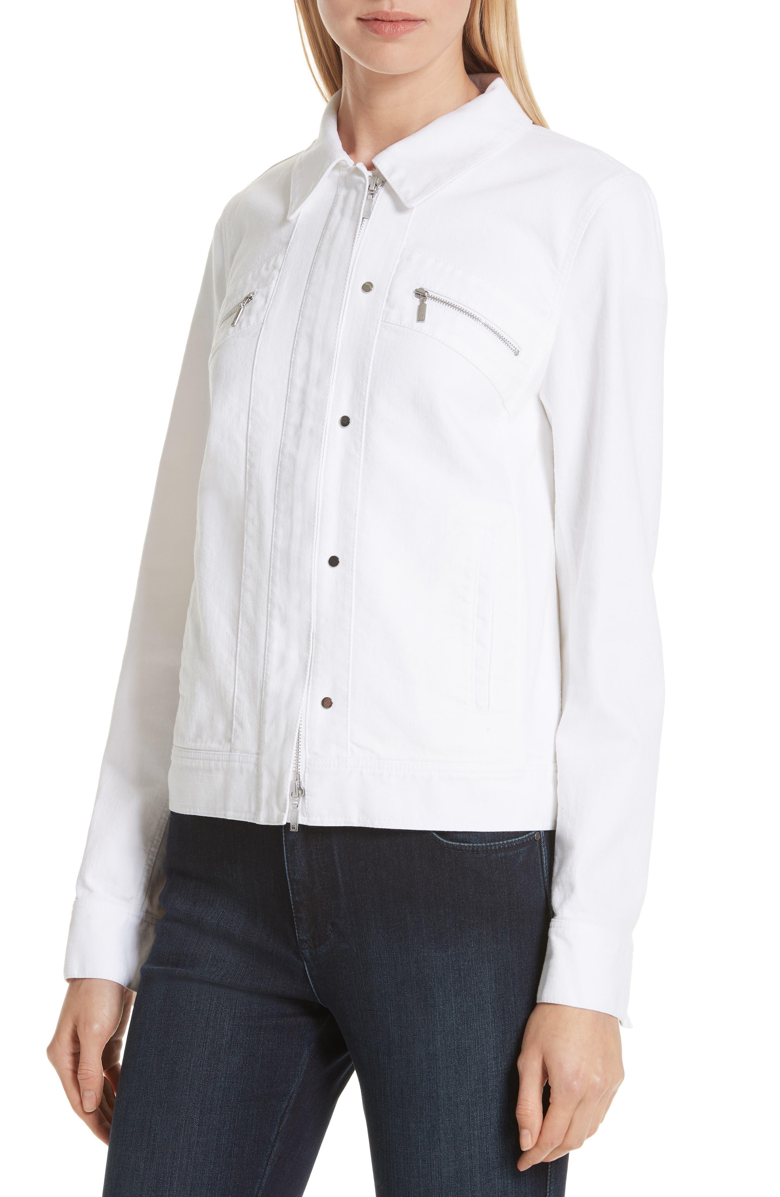 Kesha Denim Jacket,                             Alternate thumbnail 4, color,                             WHITE