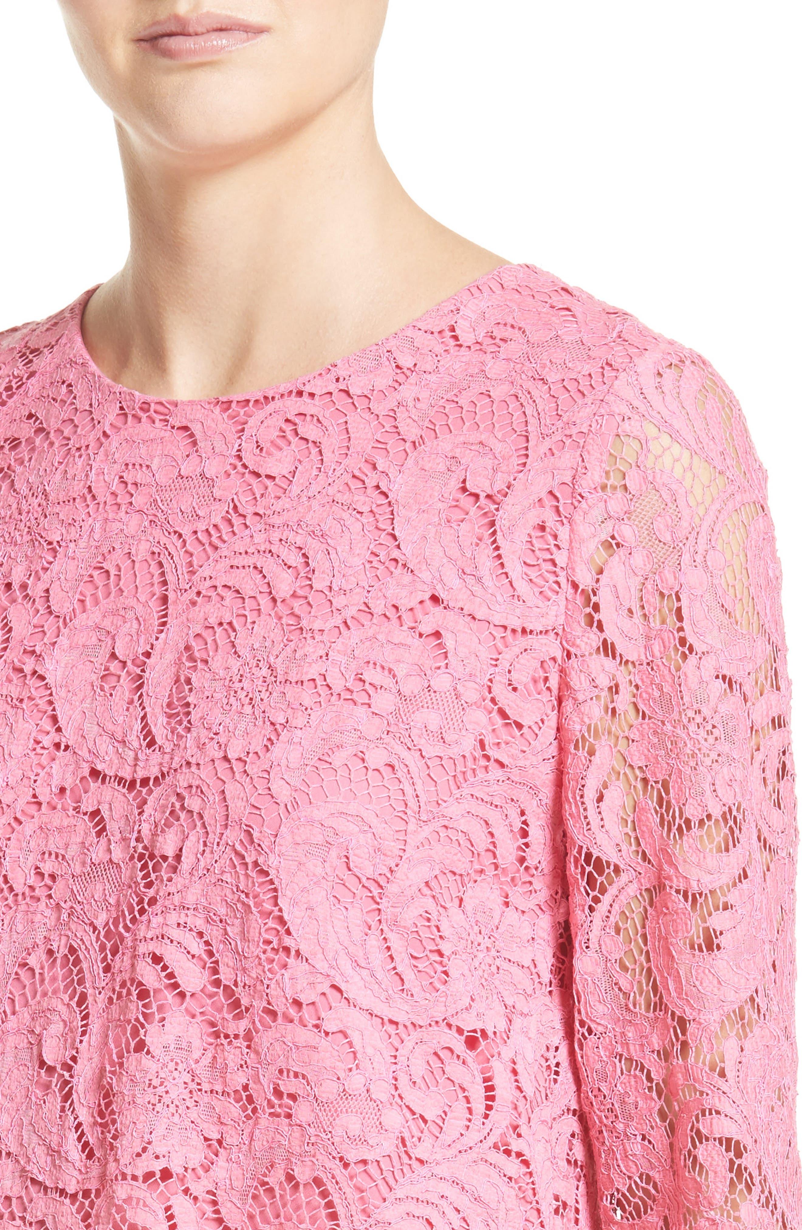 Corded Lace Trapeze Dress,                             Alternate thumbnail 4, color,                             673