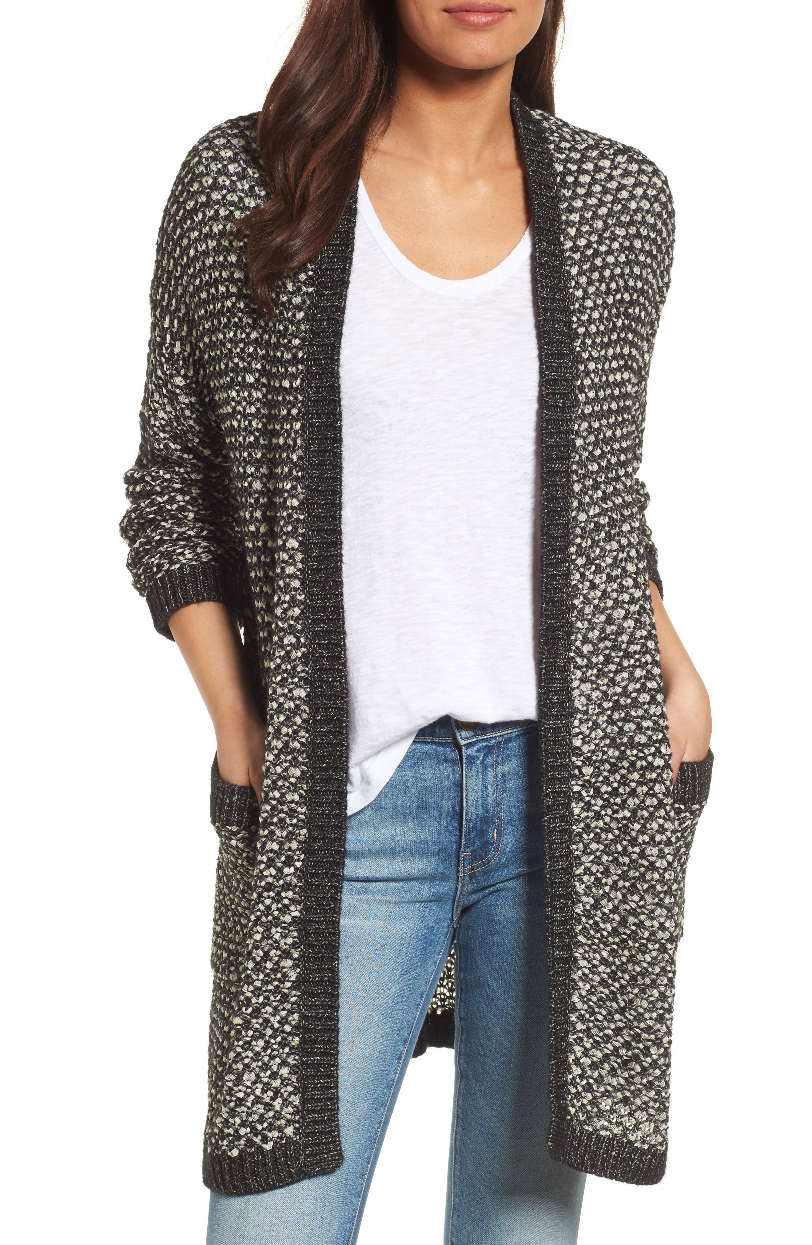 Textured Boyfriend Cardigan,                             Main thumbnail 1, color,                             BLACK- IVORY PATTERN
