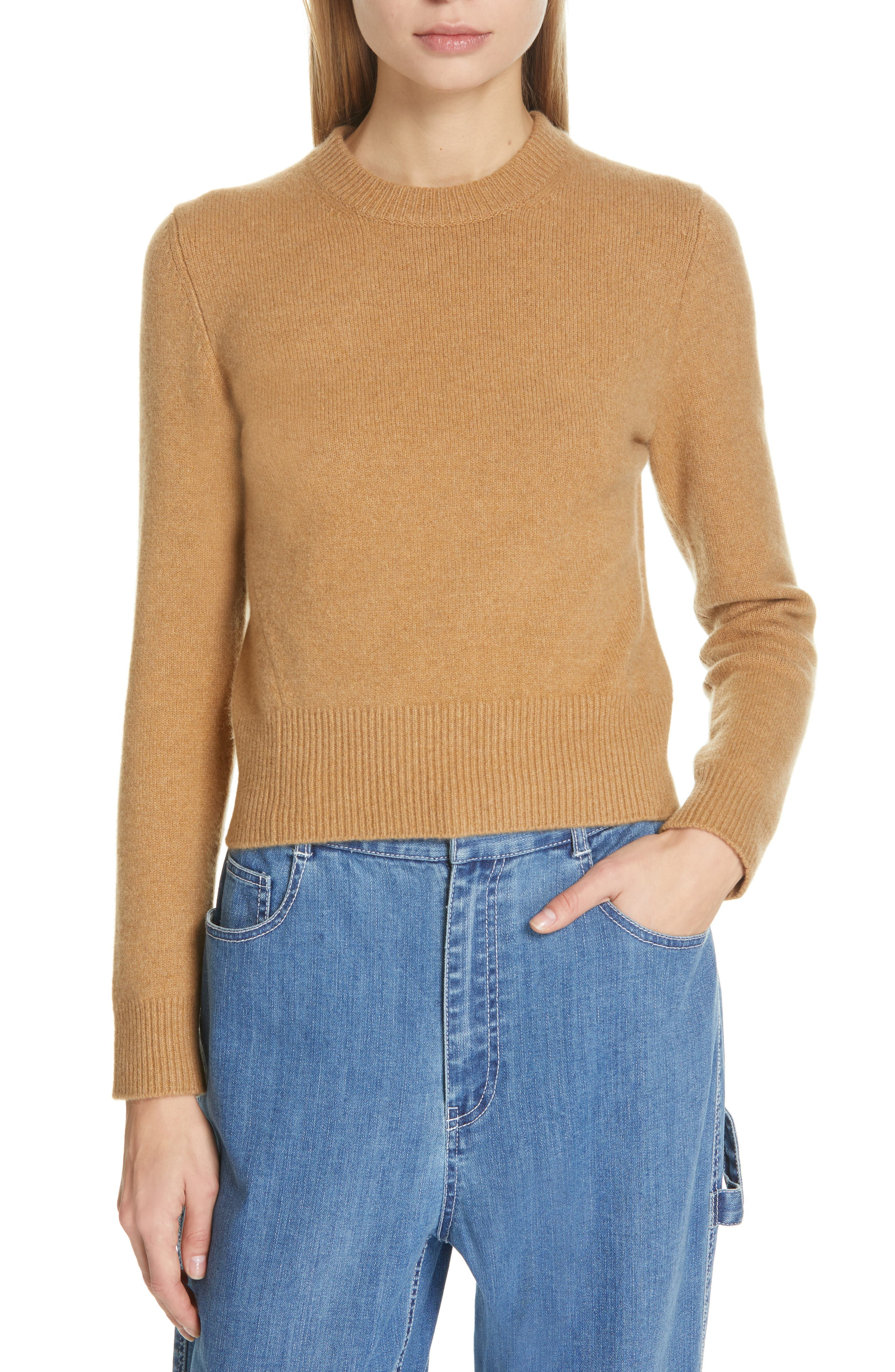 Stretch Cashmere Sweater, Main, color, CARAMEL