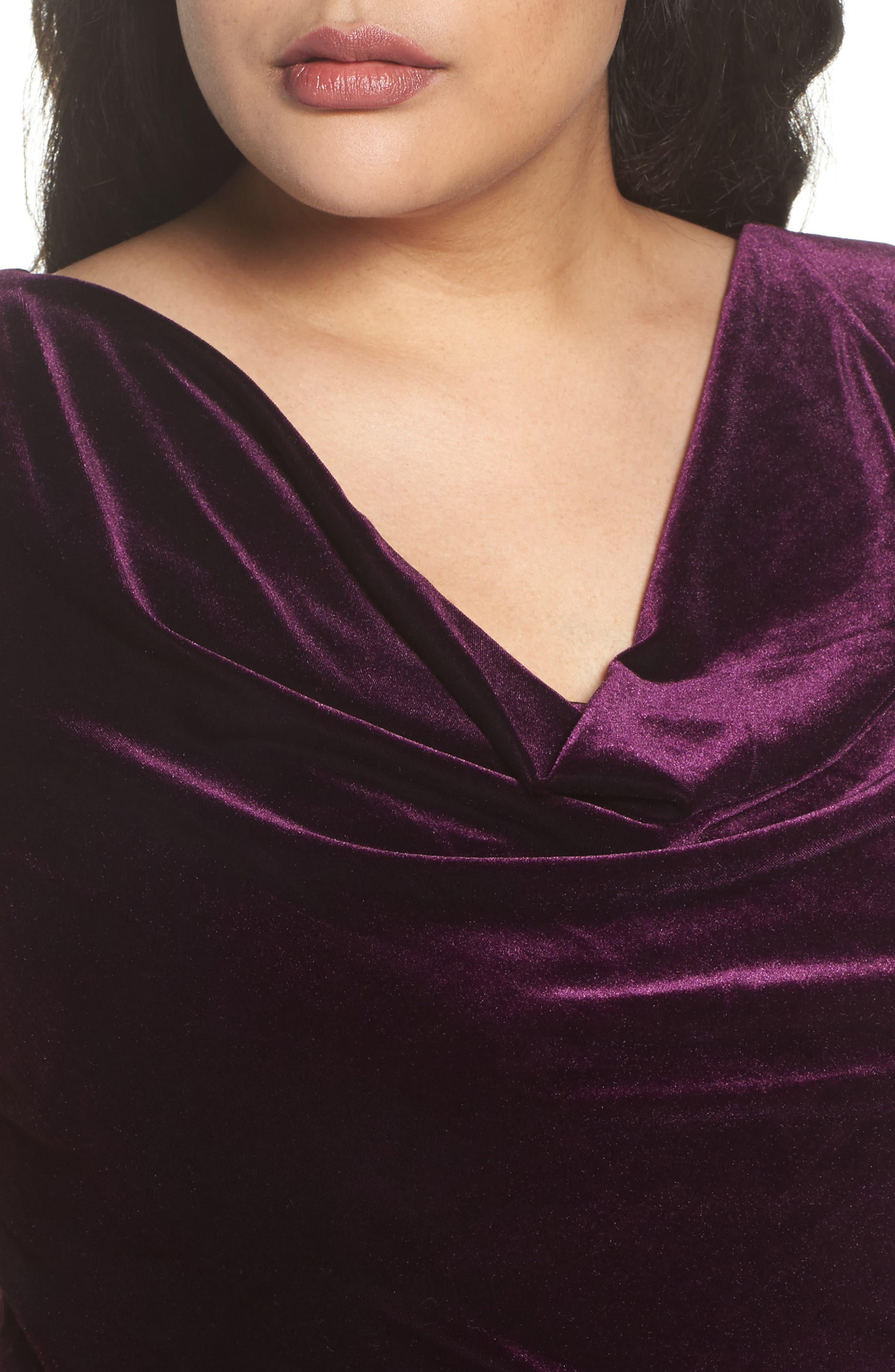 Velvet Body-Con Dress,                             Alternate thumbnail 4, color,