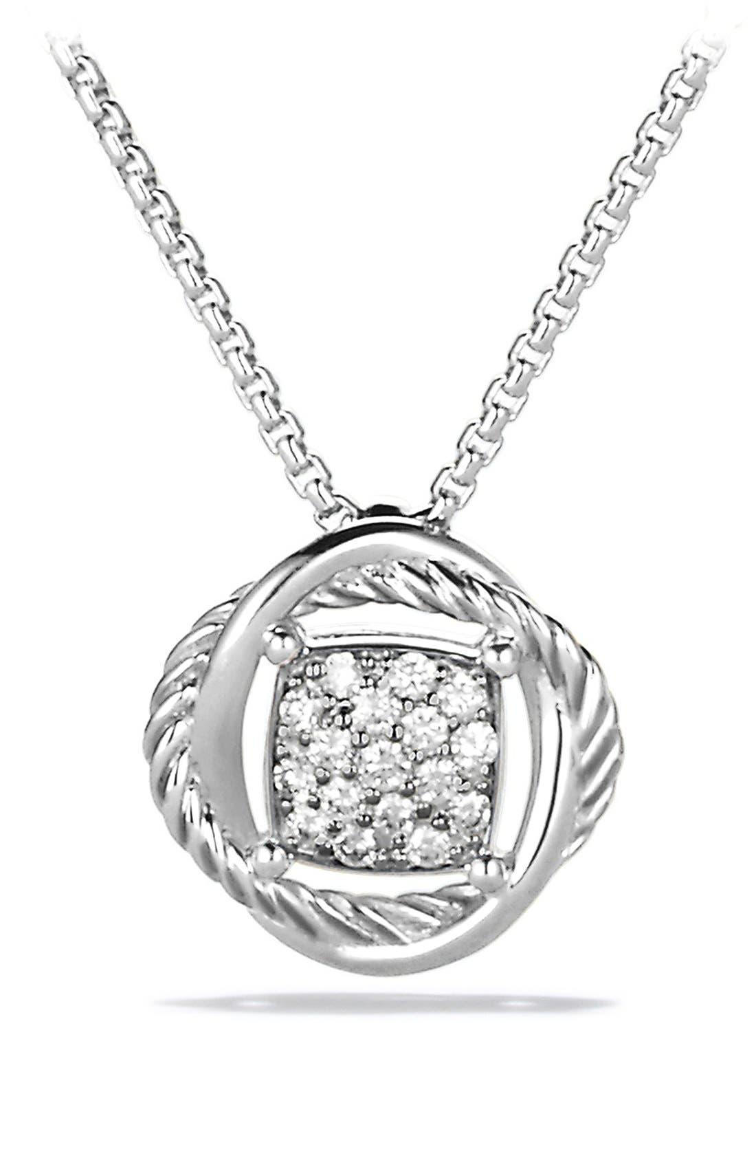 'Infinity' Pendant with Diamonds on Chain,                             Main thumbnail 1, color,                             DIAMOND
