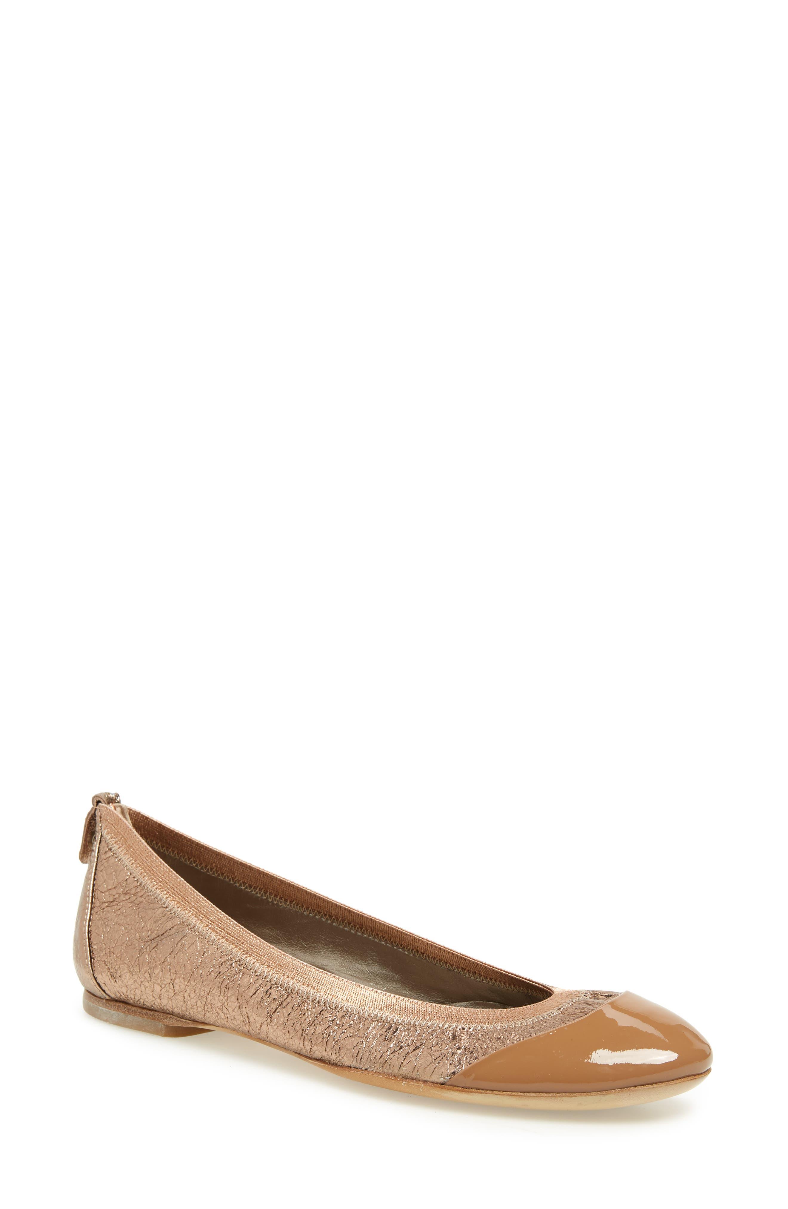 AGL ATTILIO GIUSTI LEOMBRUNI Elasticized Topline Ballet Flat in Copper Crinkle