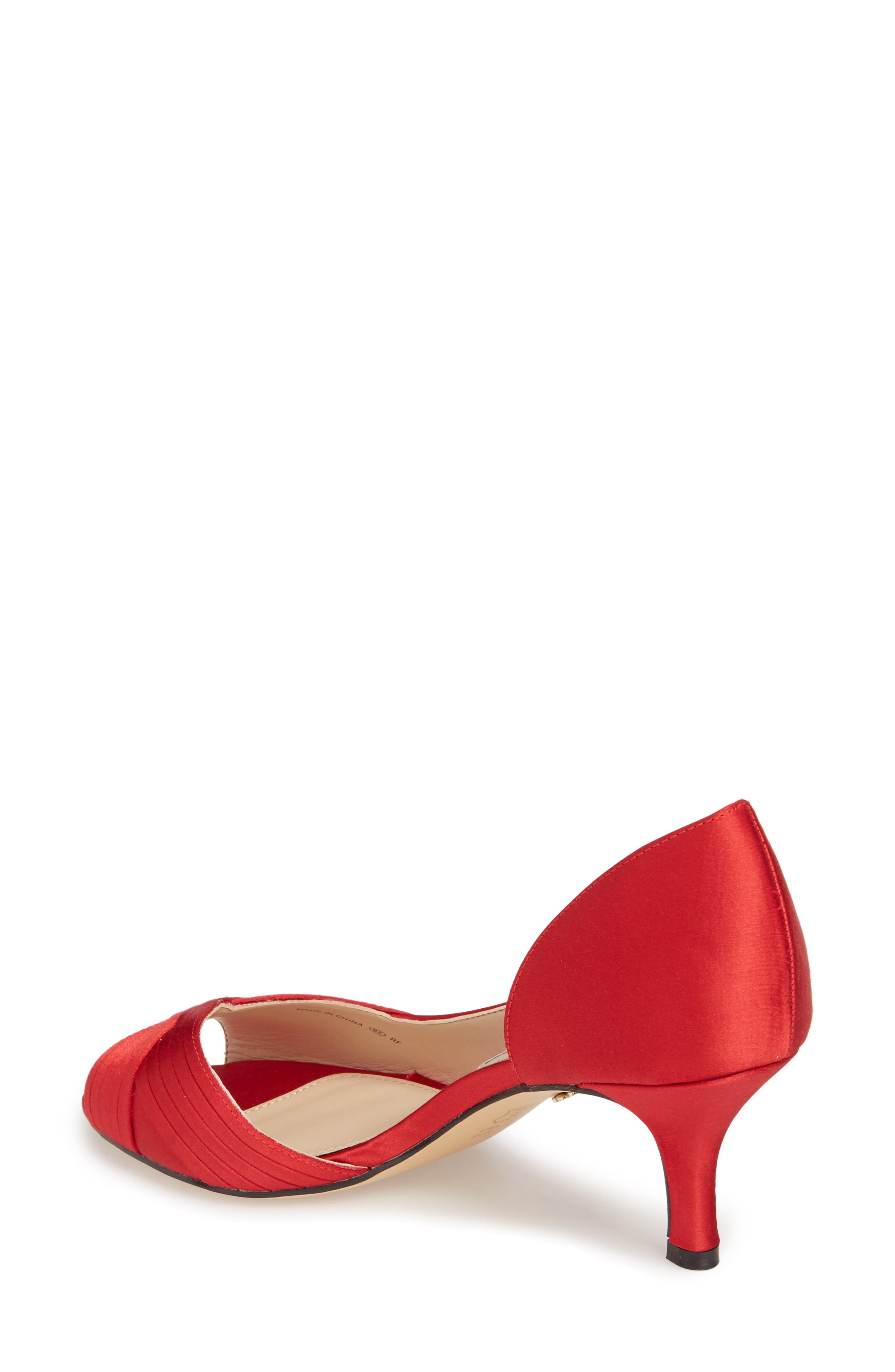 Contesa Open Toe Pump,                             Alternate thumbnail 2, color,                             RED SATIN