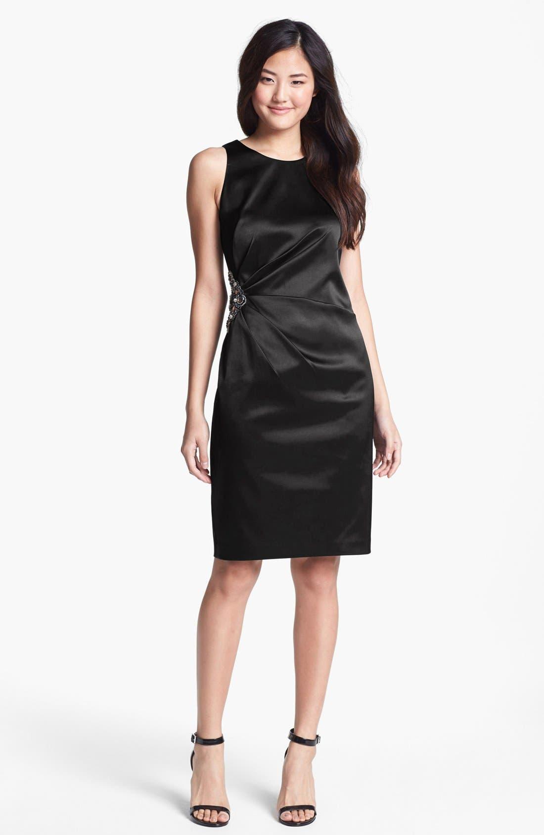 Embellished Side Ruched Sheath Dress,                             Main thumbnail 1, color,