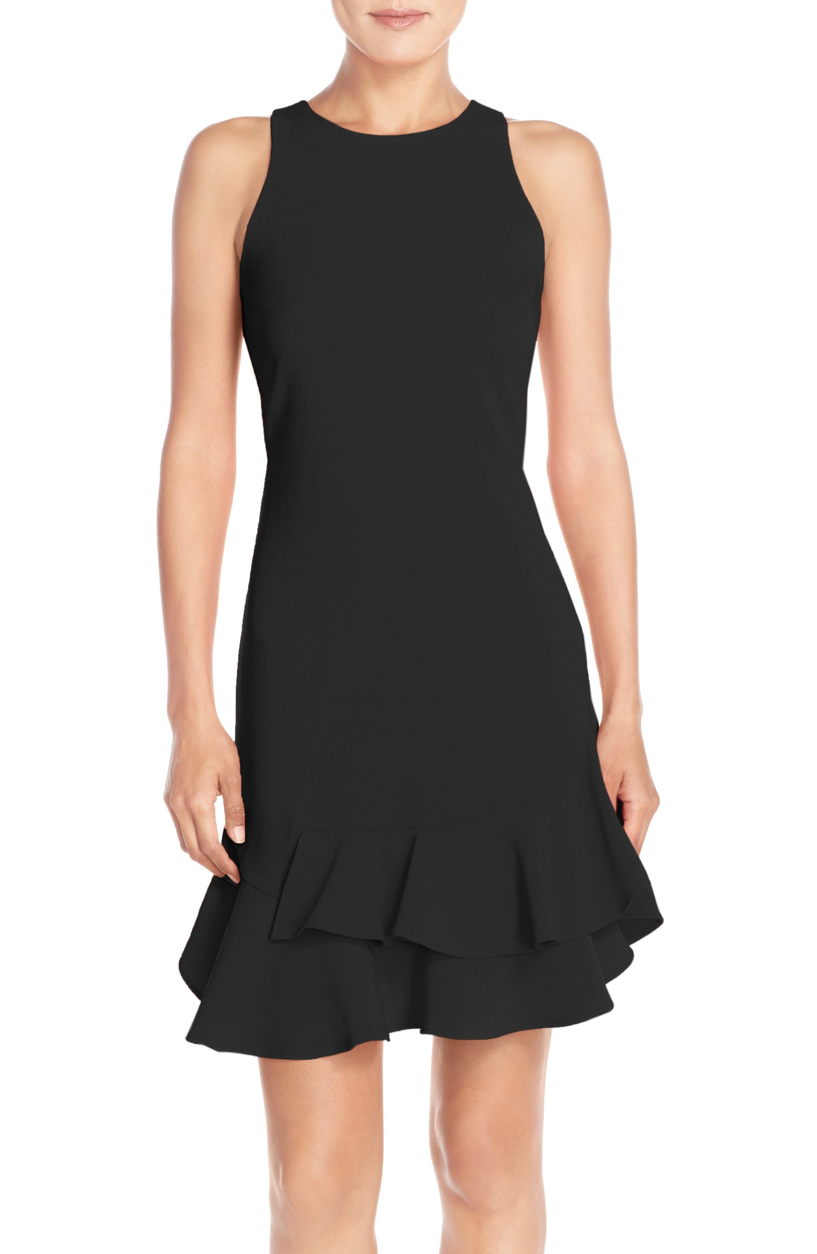 Tiered Flounce Hem Dress,                             Alternate thumbnail 8, color,                             BLACK