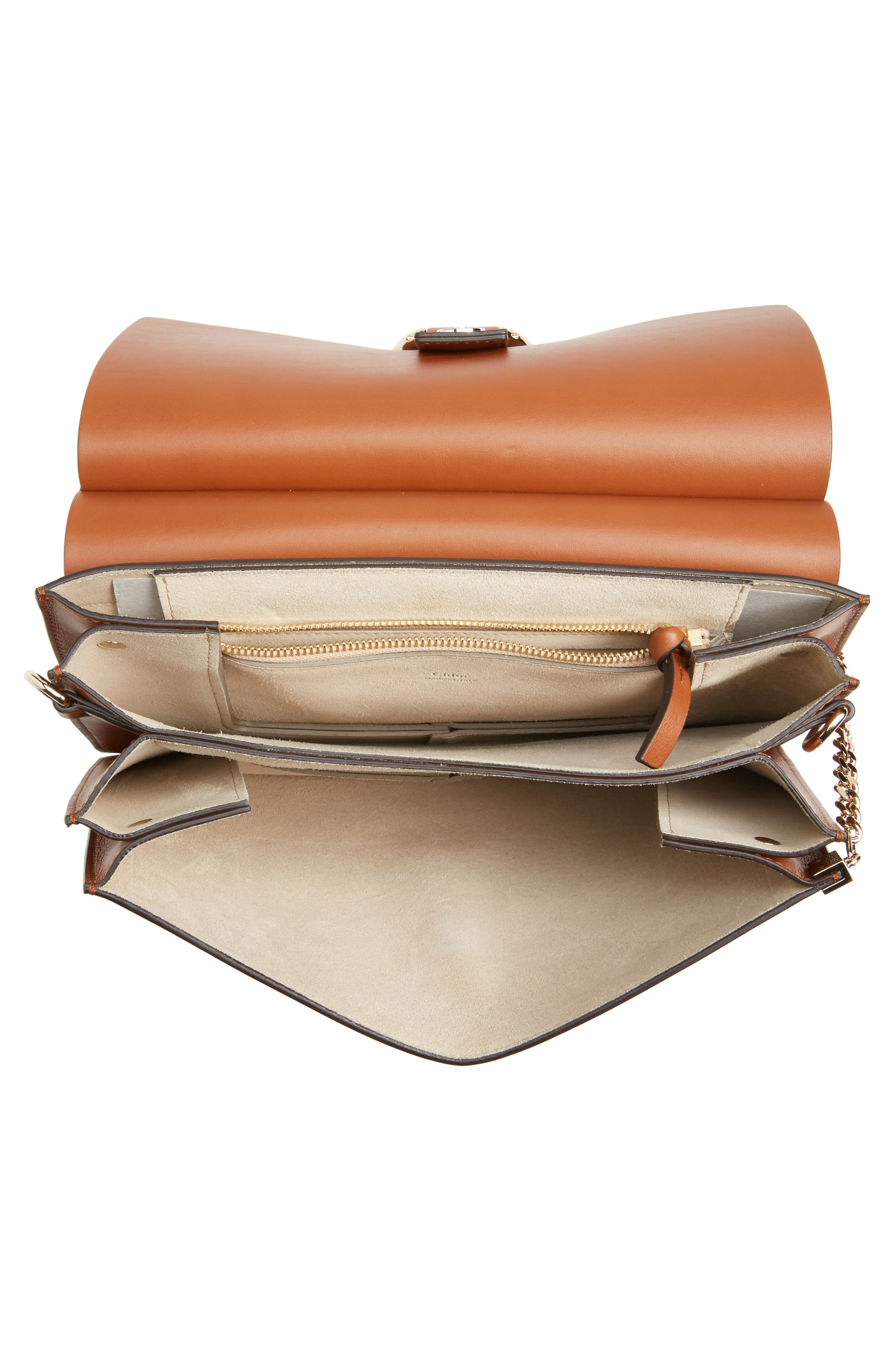 Faye Suede & Leather Shoulder Bag,                             Alternate thumbnail 4, color,                             CLASSIC TOBACCO