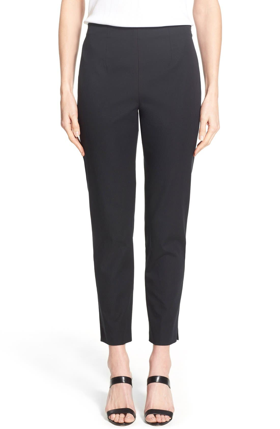 Woven Slim Ankle Pants,                             Main thumbnail 1, color,                             BLACK