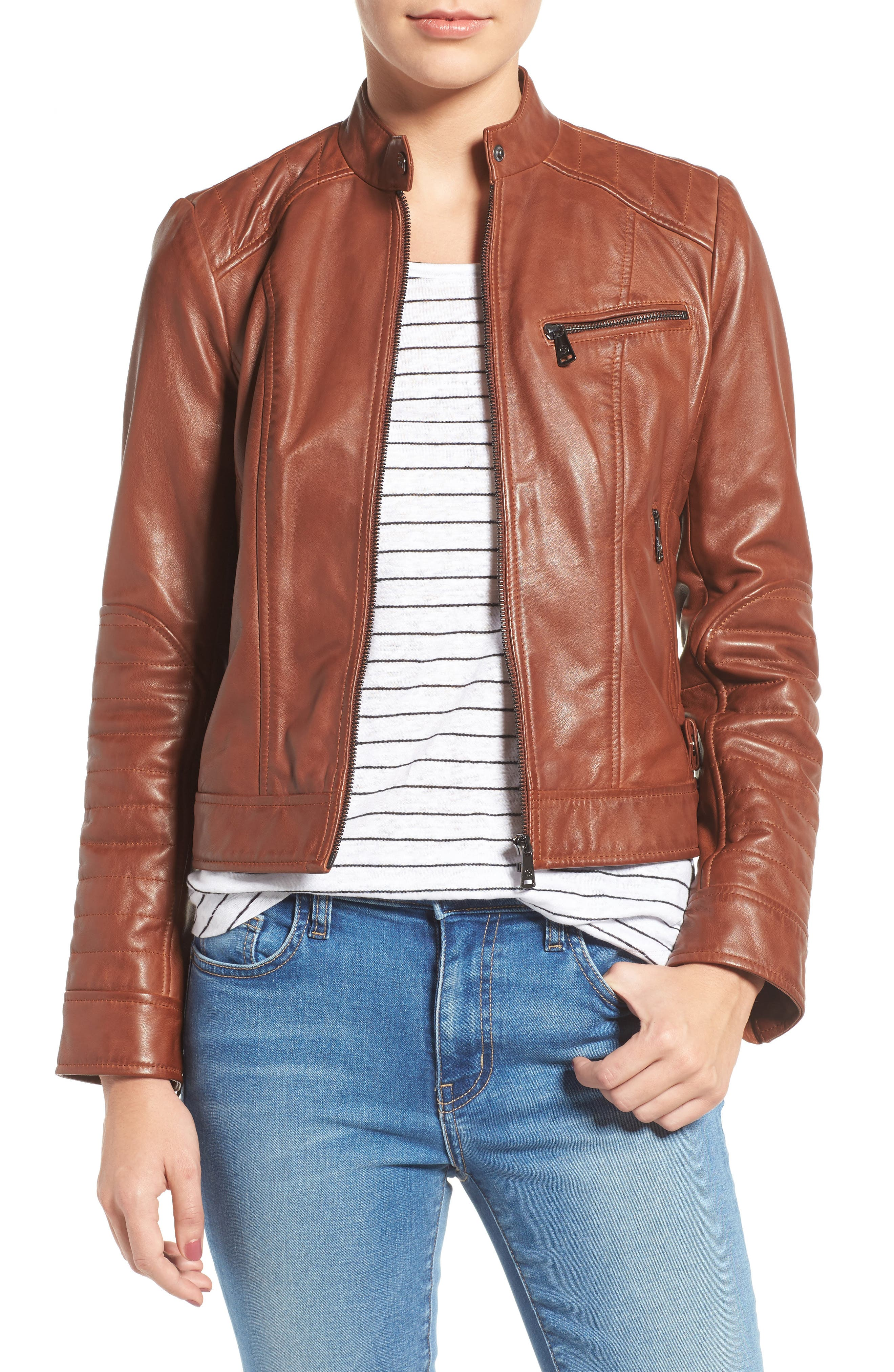 Quilted Leather Moto Jacket,                         Main,                         color, 219