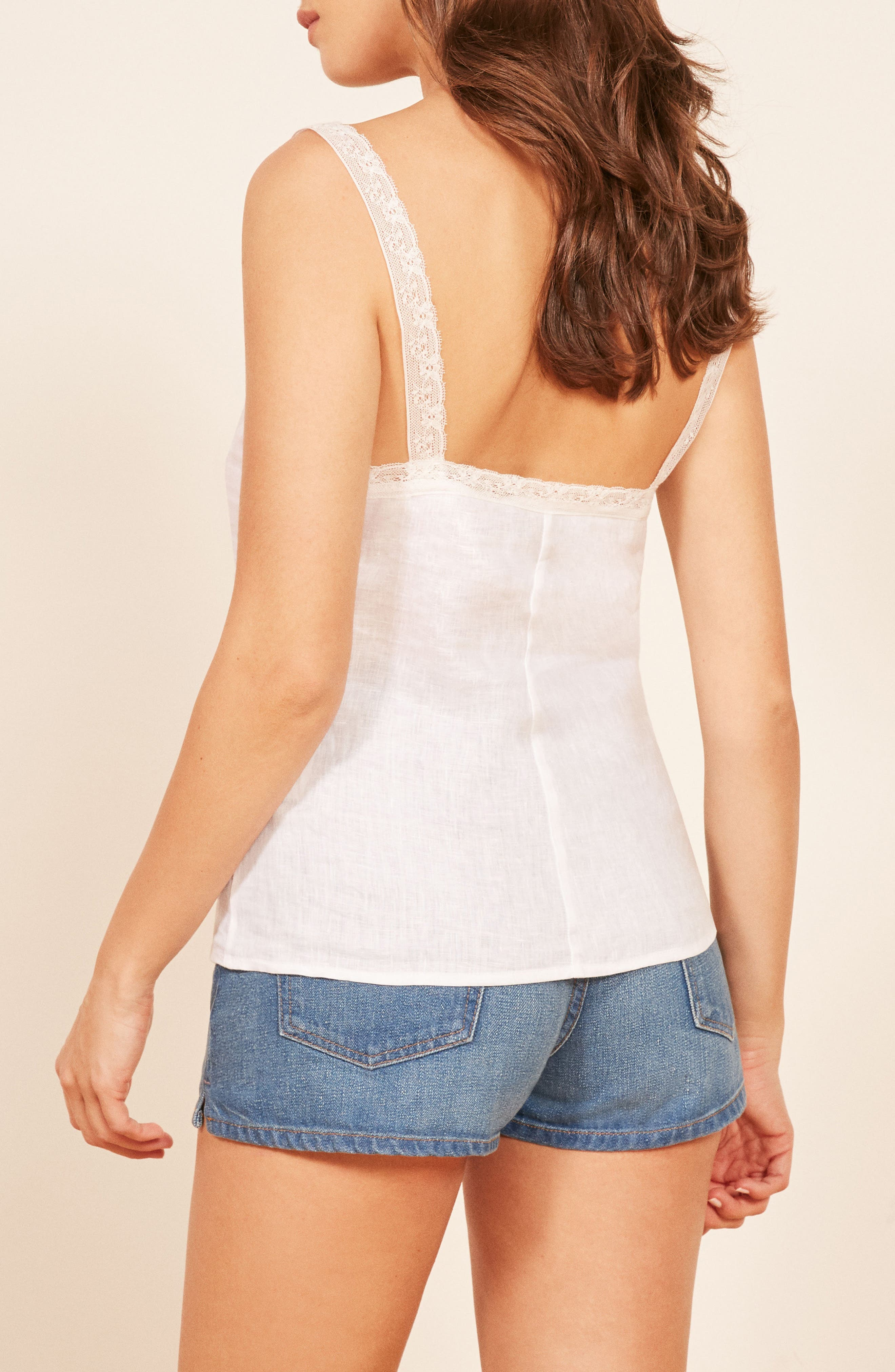 REFORMATION,                             Emmie Lace Trim Linen Camisole,                             Alternate thumbnail 2, color,                             100