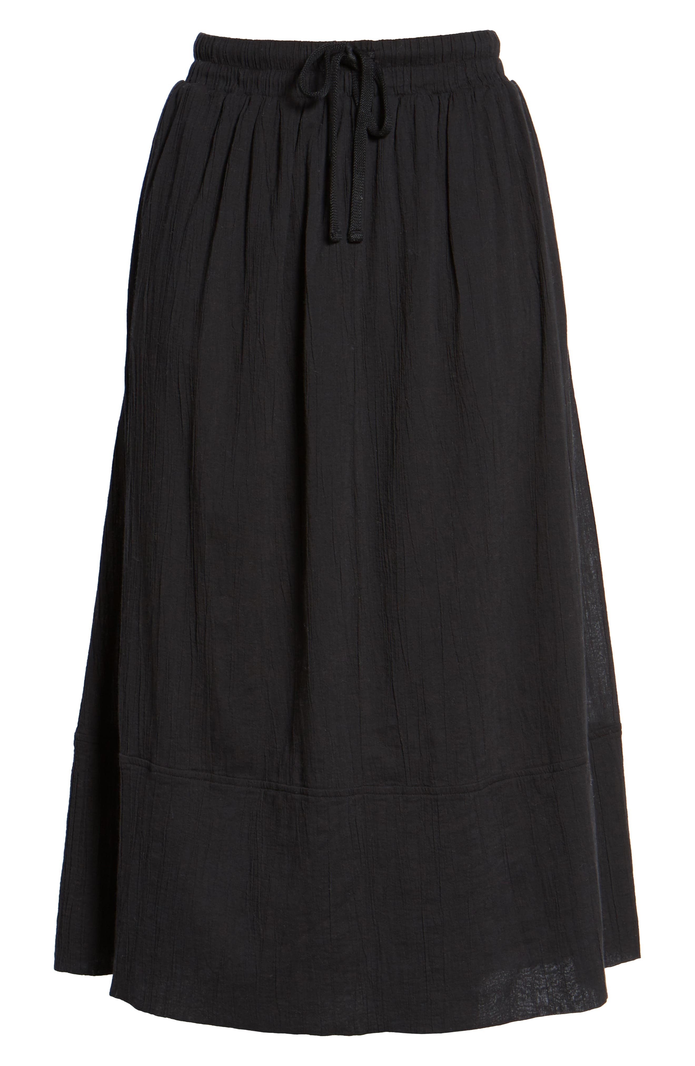 Gauze Midi Skirt,                             Alternate thumbnail 6, color,                             001