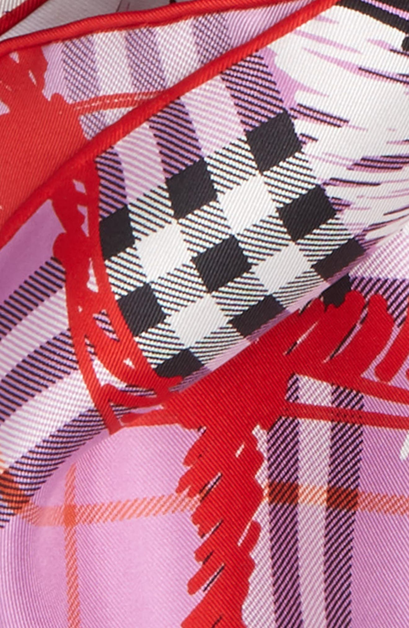 Scribble Vintage Check Silk Square Scarf,                             Alternate thumbnail 4, color,                             FUCHSIA PINK
