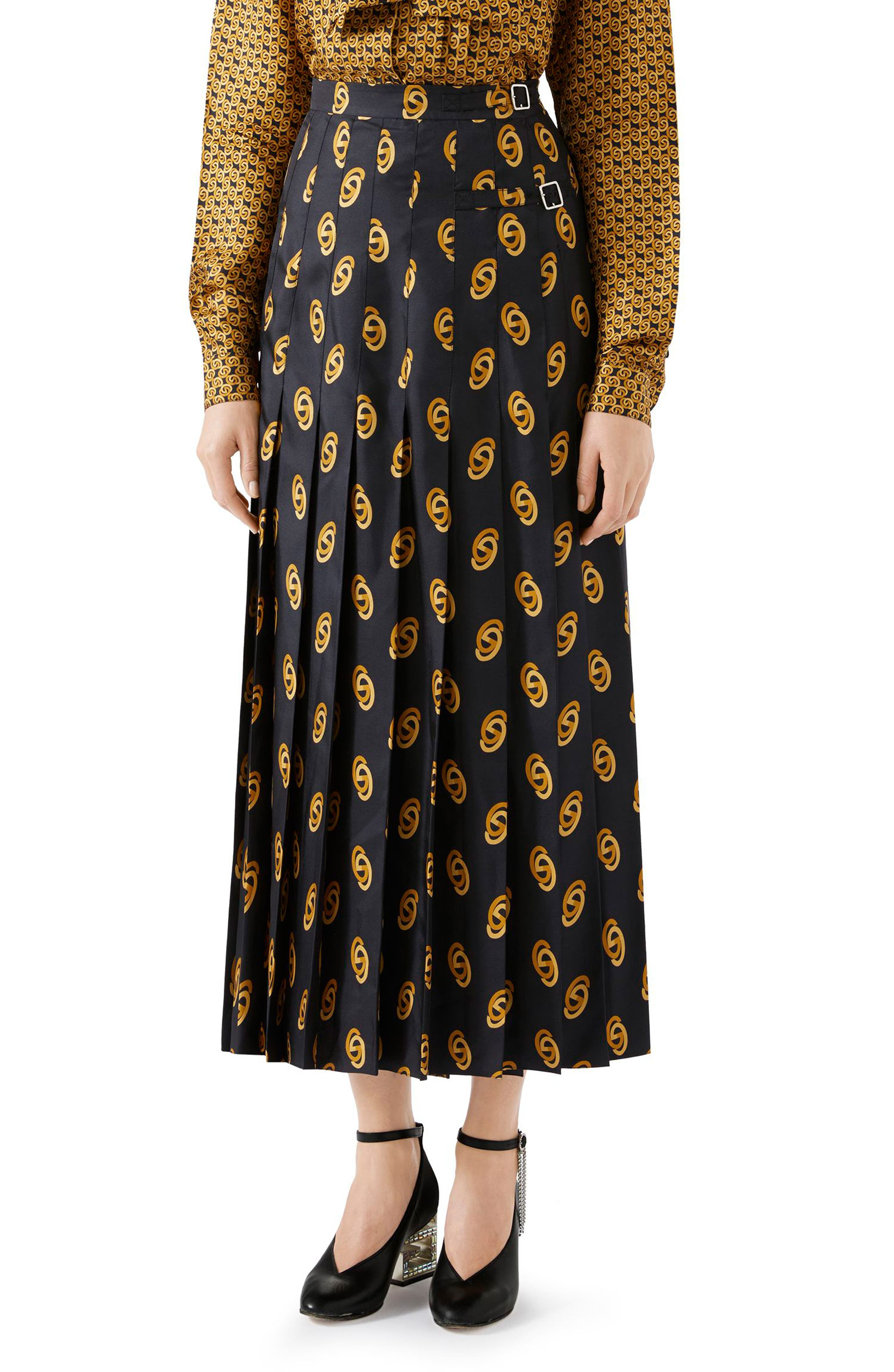 GUCCI,                             Pleated GG Silk Twill Skirt,                             Main thumbnail 1, color,                             1744 BLACK/ GOLD PRINTED