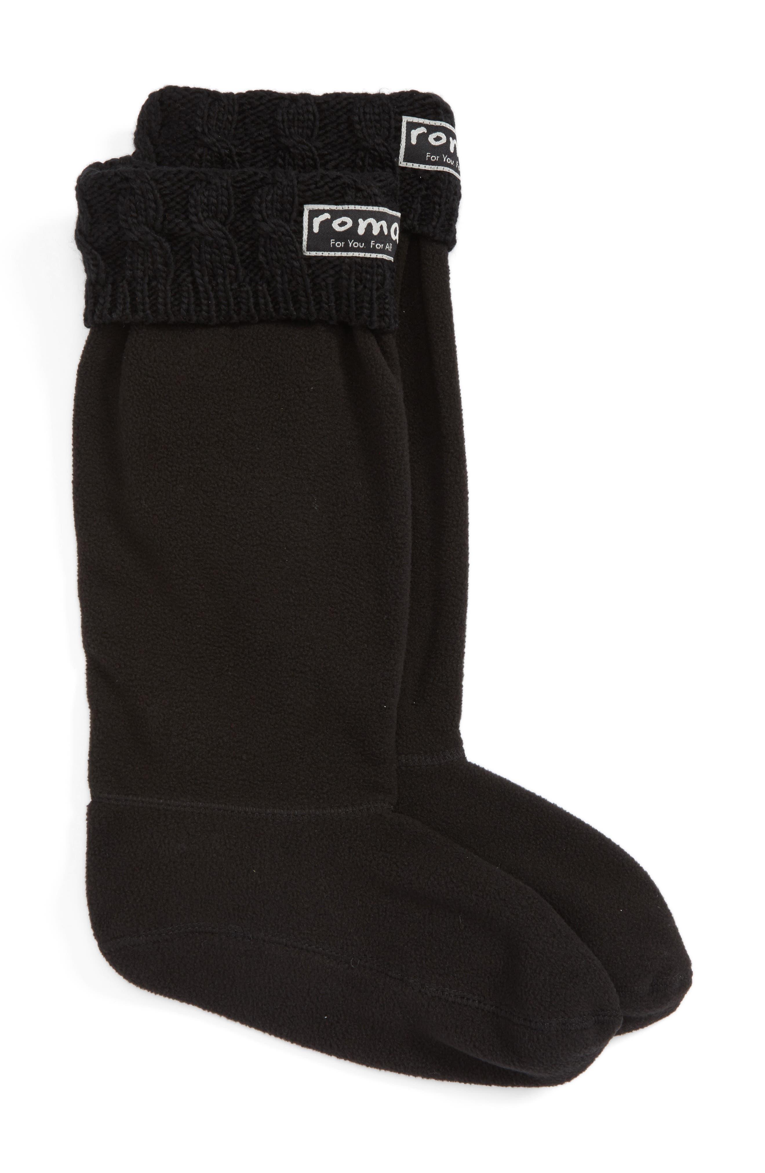 Knit Collar Fleece Boot Socks,                         Main,                         color, 002