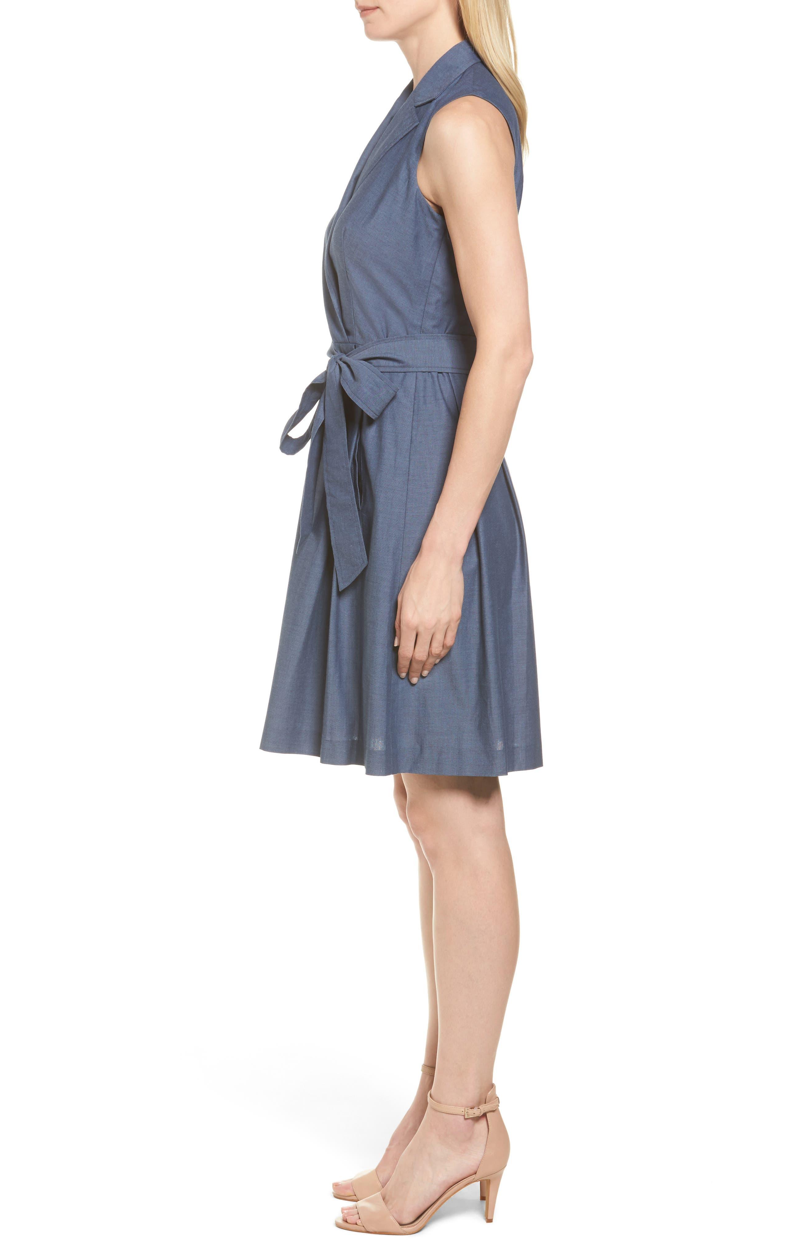 Denim Faux Wrap Dress,                             Alternate thumbnail 3, color,