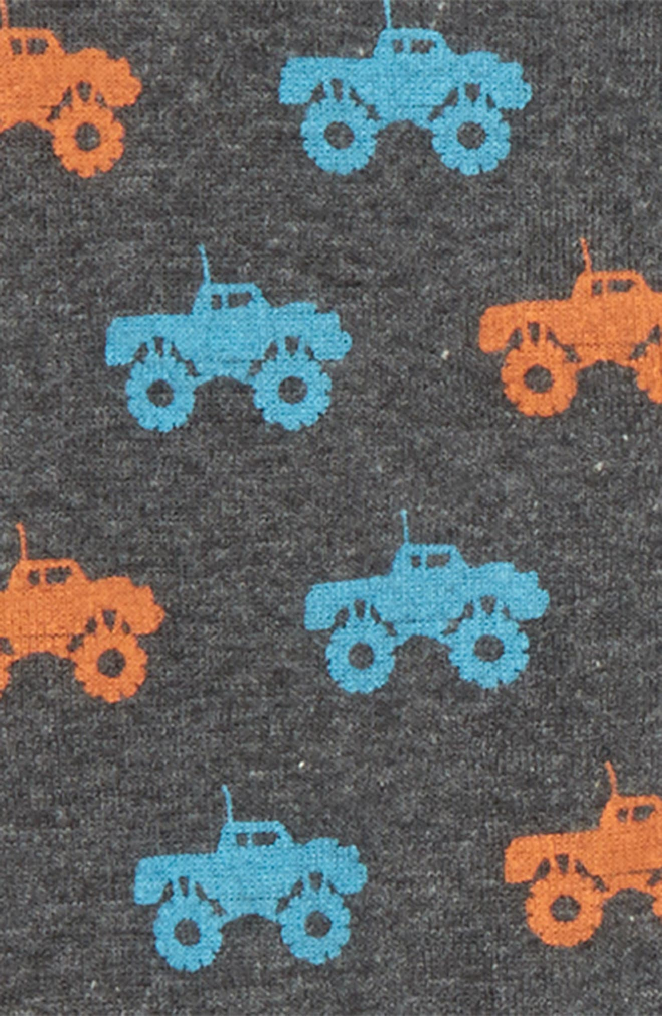 Organic Cotton Fitted One-Piece Pajamas,                             Alternate thumbnail 2, color,                             COLORFUL MONSTER TRUCKS