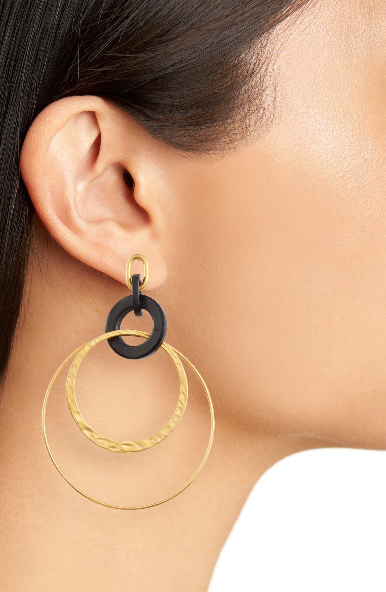 Horn Hoop Earrings,                             Alternate thumbnail 2, color,                             BLACK HORN