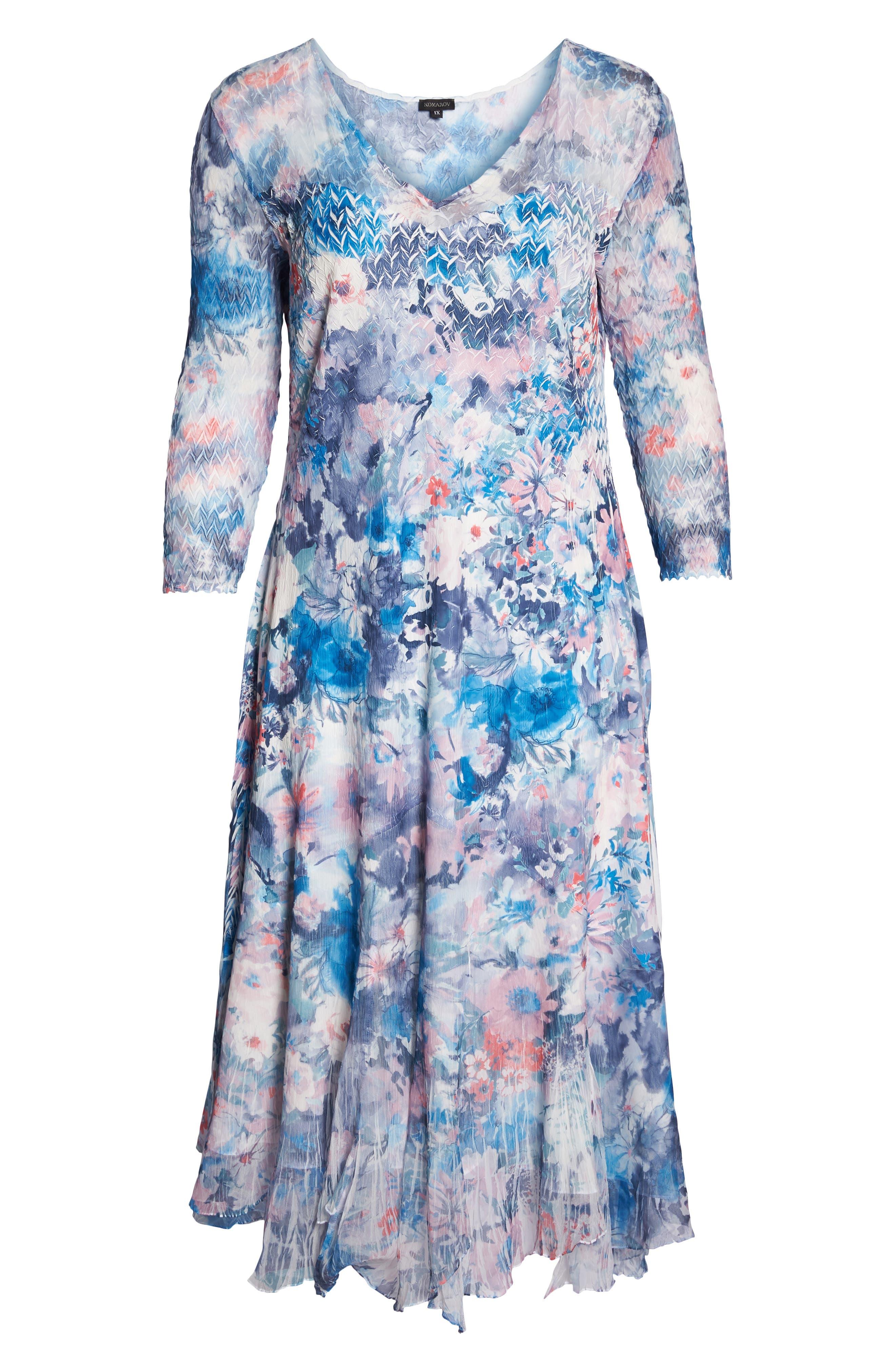Inset Floral Charmeuse & Chiffon A-Line Dress,                             Alternate thumbnail 7, color,                             405