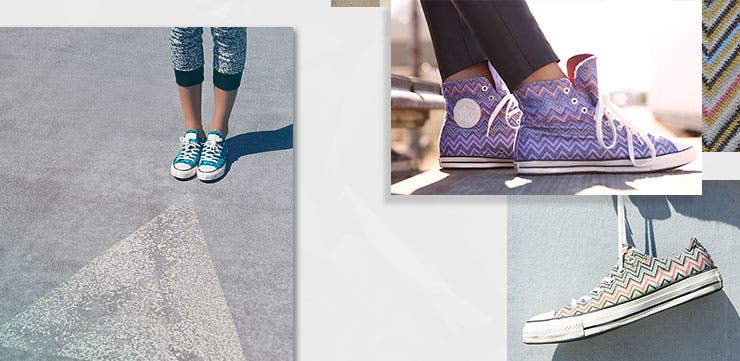 Converse and Missoni women's shoes.