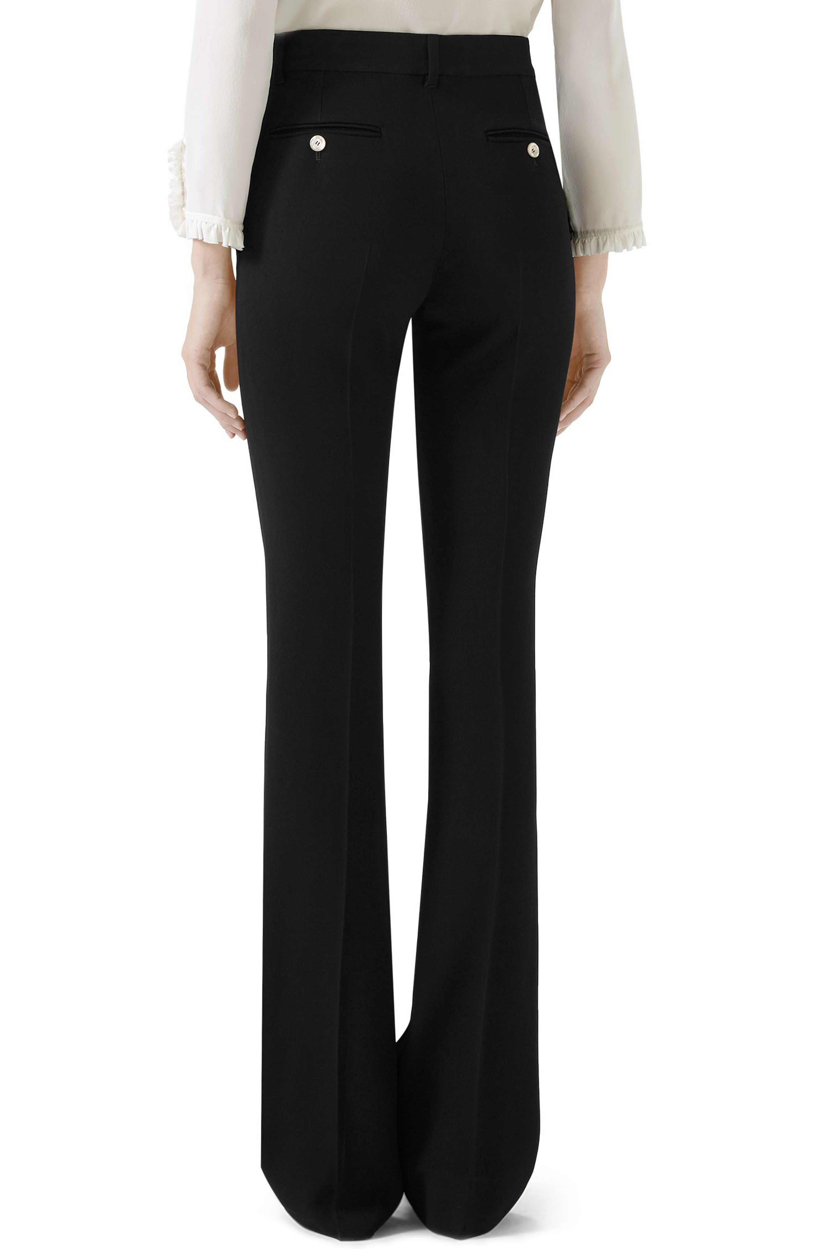 Stretch Cady Skinny Flare Pants,                             Alternate thumbnail 3, color,                             BLACK