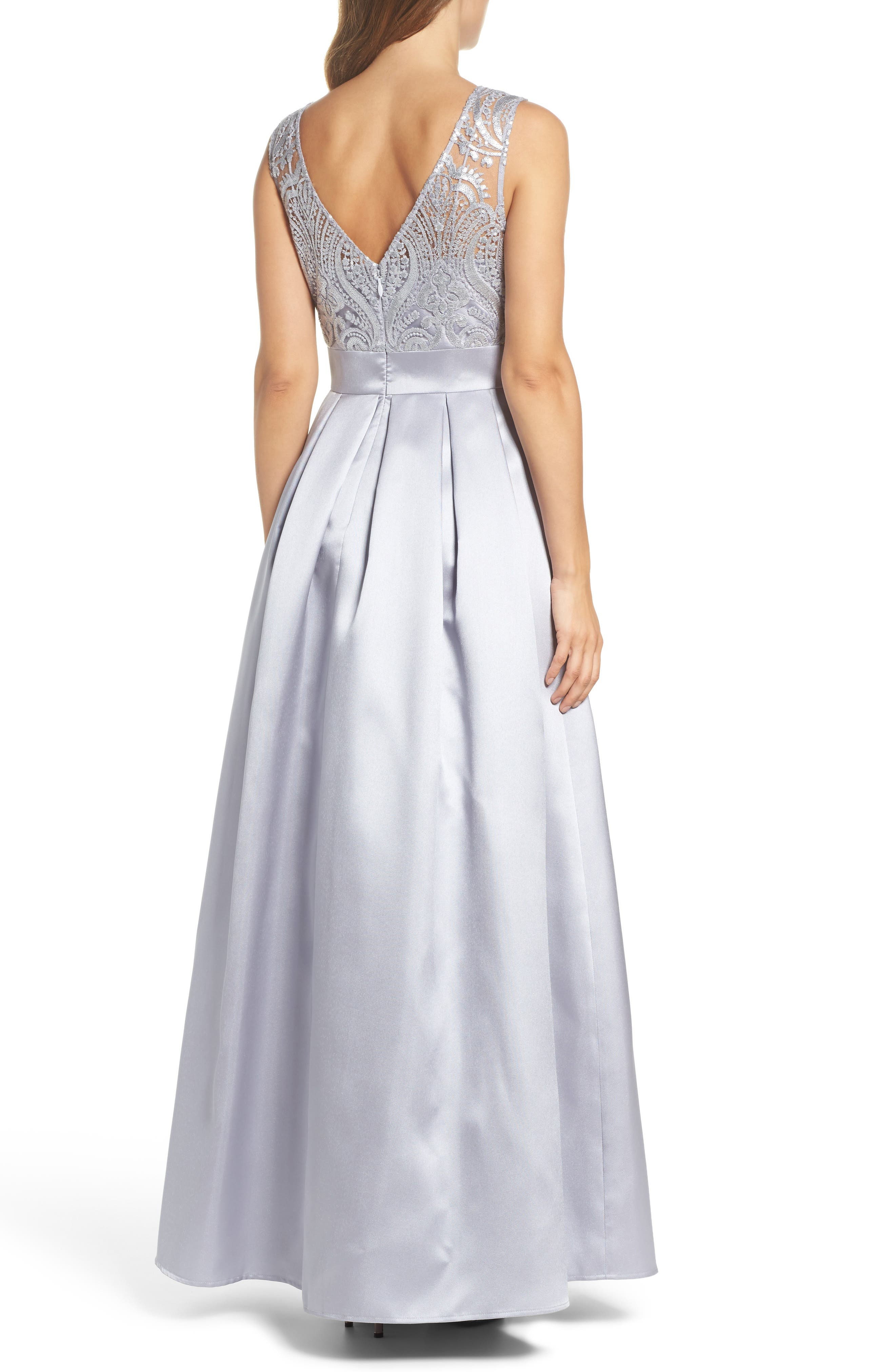 Sequin Embellished Illusion Neck Gown,                             Alternate thumbnail 2, color,                             040