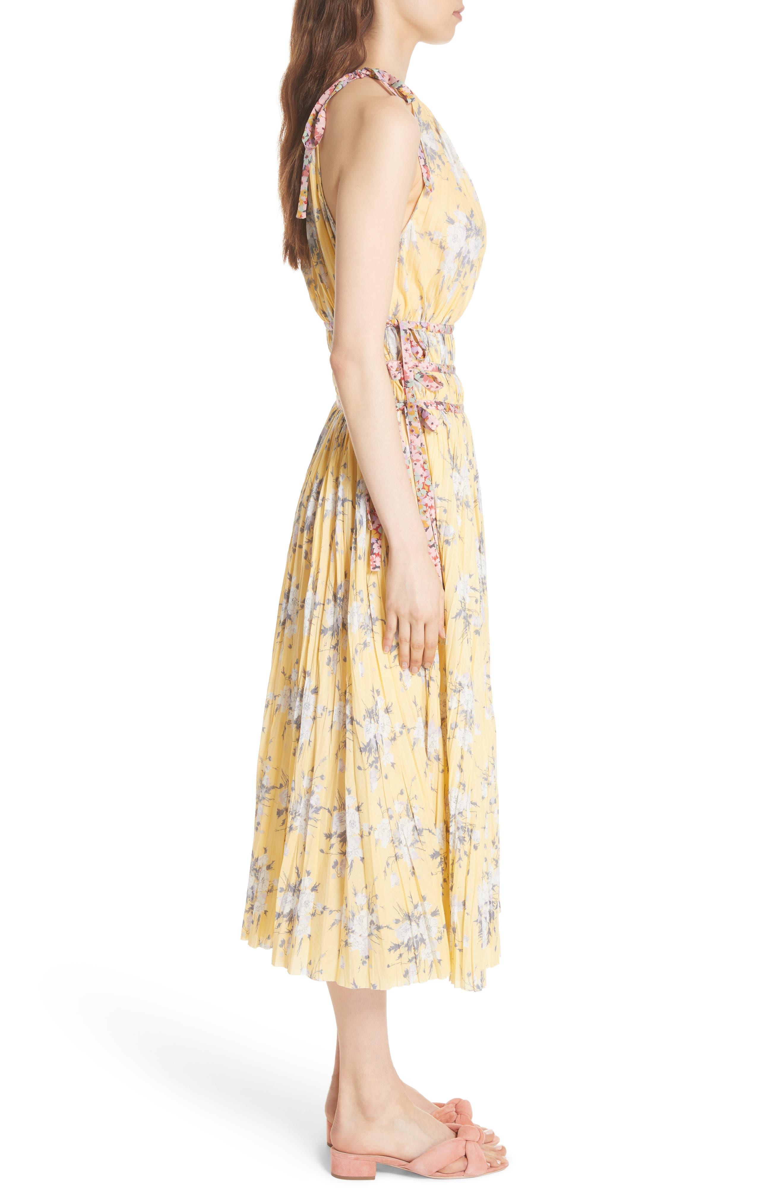 Pleat Midi Dress,                             Alternate thumbnail 3, color,