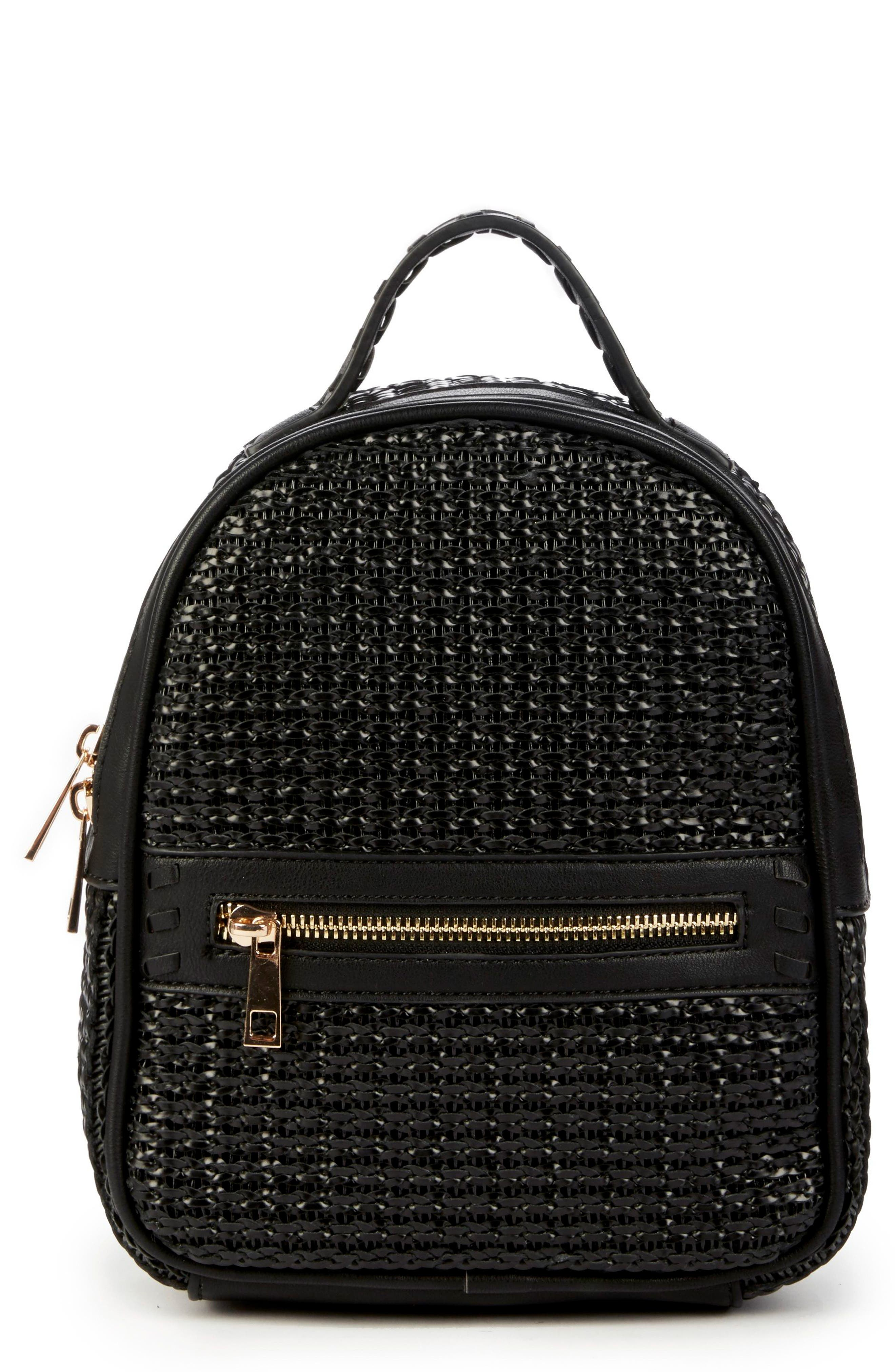 Nikole Faux Leather Backpack,                             Main thumbnail 1, color,                             BLACK