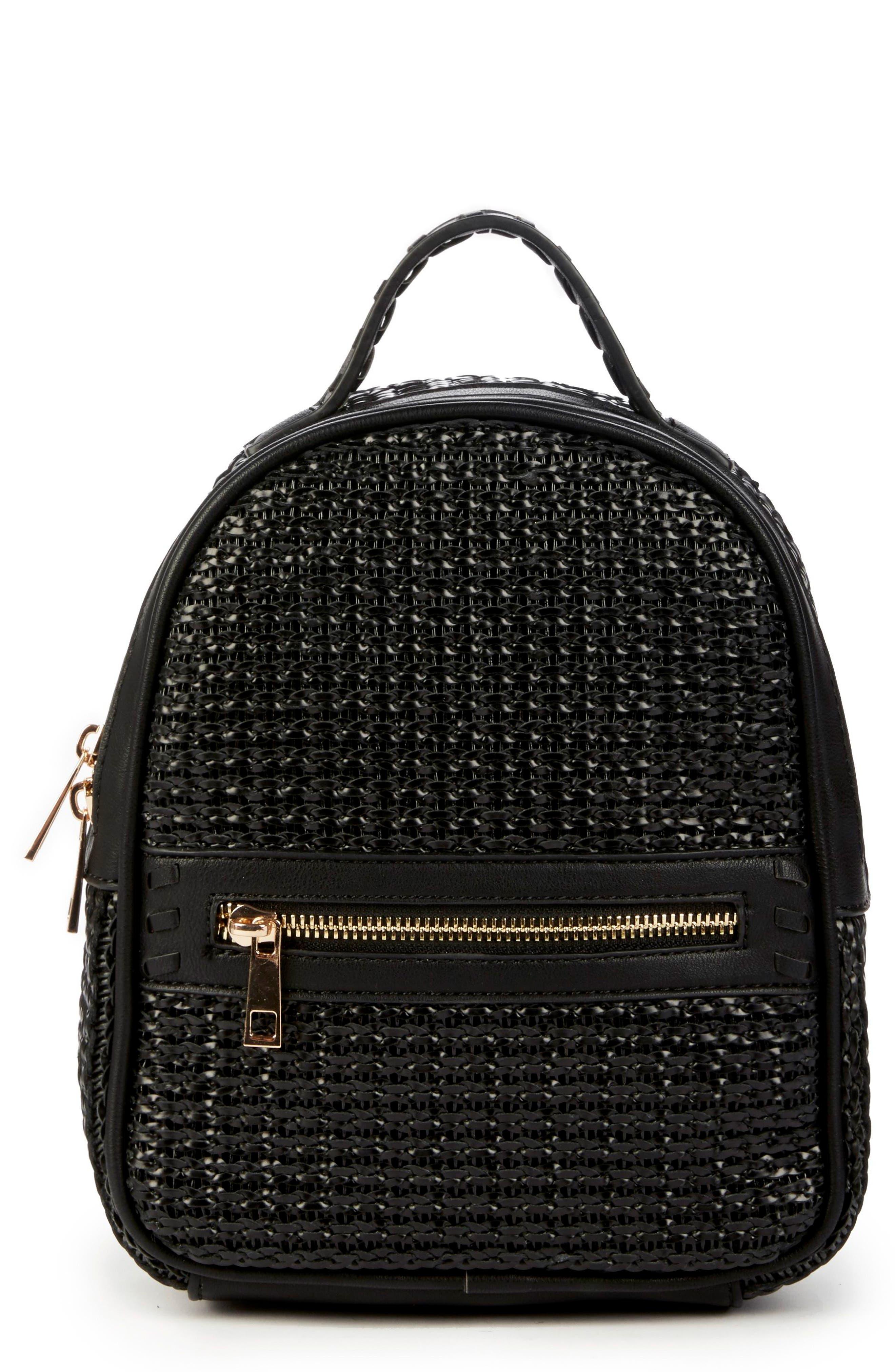 Nikole Faux Leather Backpack,                         Main,                         color, BLACK