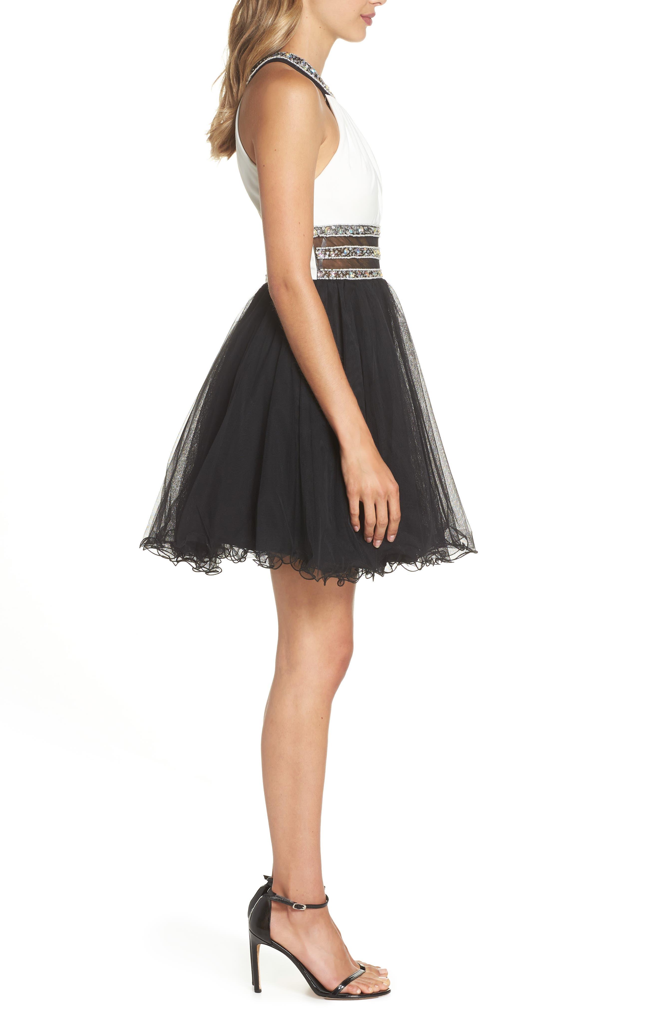 Embellished Colorblock Skater Dress,                             Alternate thumbnail 3, color,                             WHITE/ BLACK