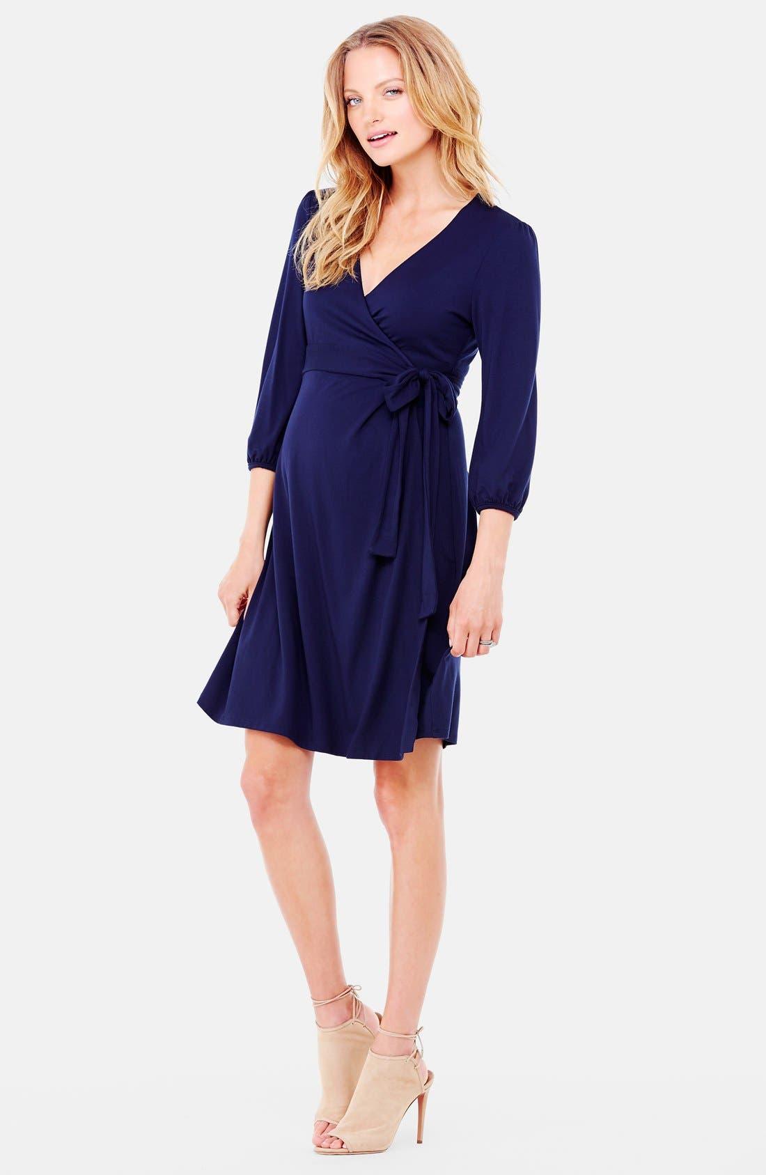 Nursing Friendly Maternity Wrap Dress,                             Alternate thumbnail 12, color,
