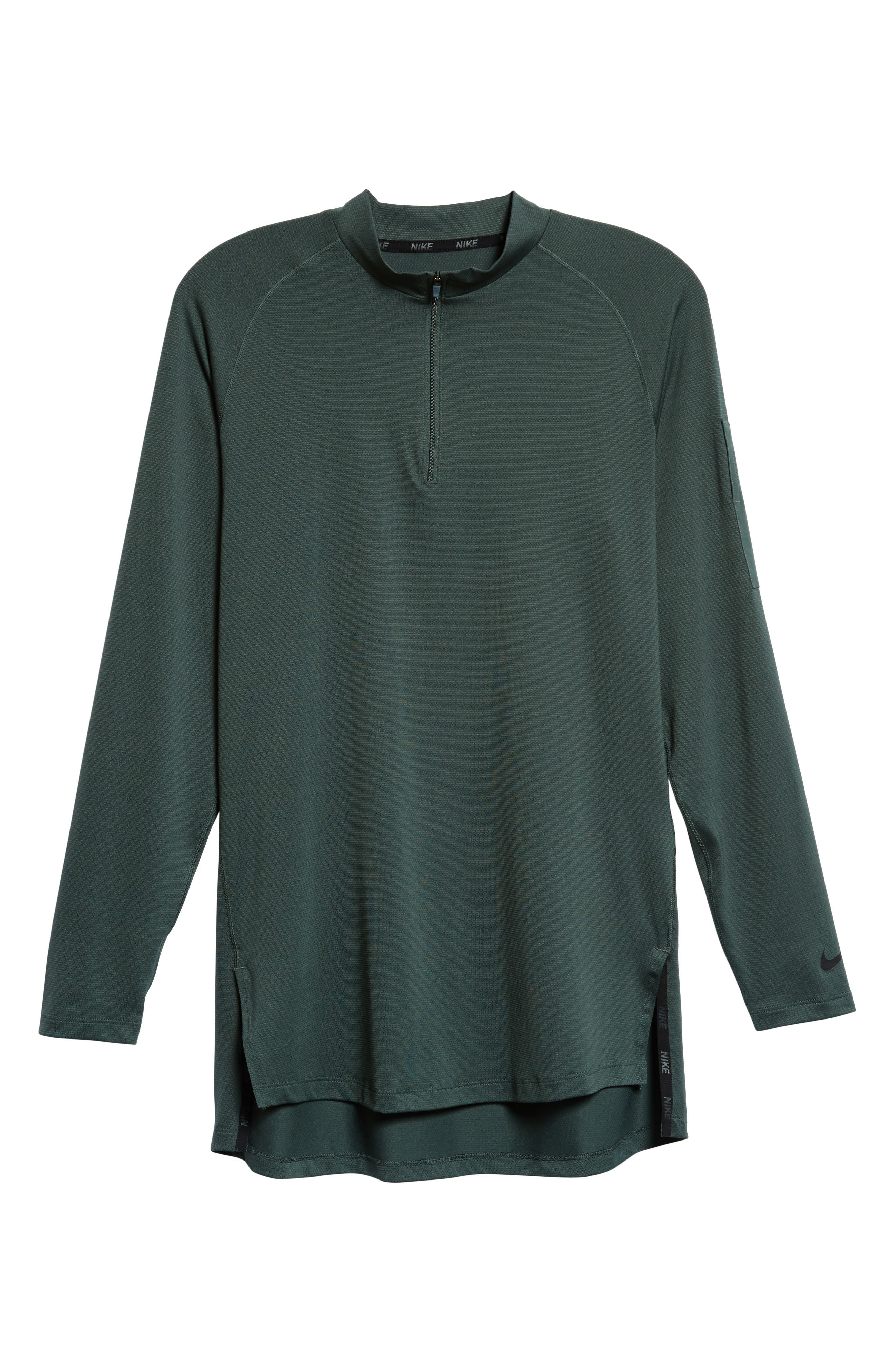 NIKE,                             Pro Fitted Utility Dry Tech Sport Top,                             Alternate thumbnail 6, color,                             VINTAGE GREEN/ BLACK