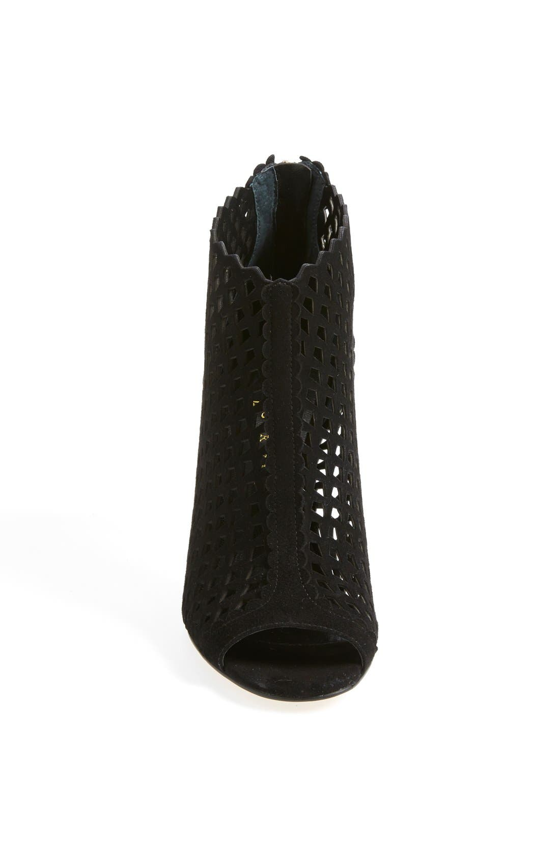 'Didia' Cutout Cage Open Toe Suede Bootie,                             Alternate thumbnail 4, color,                             001