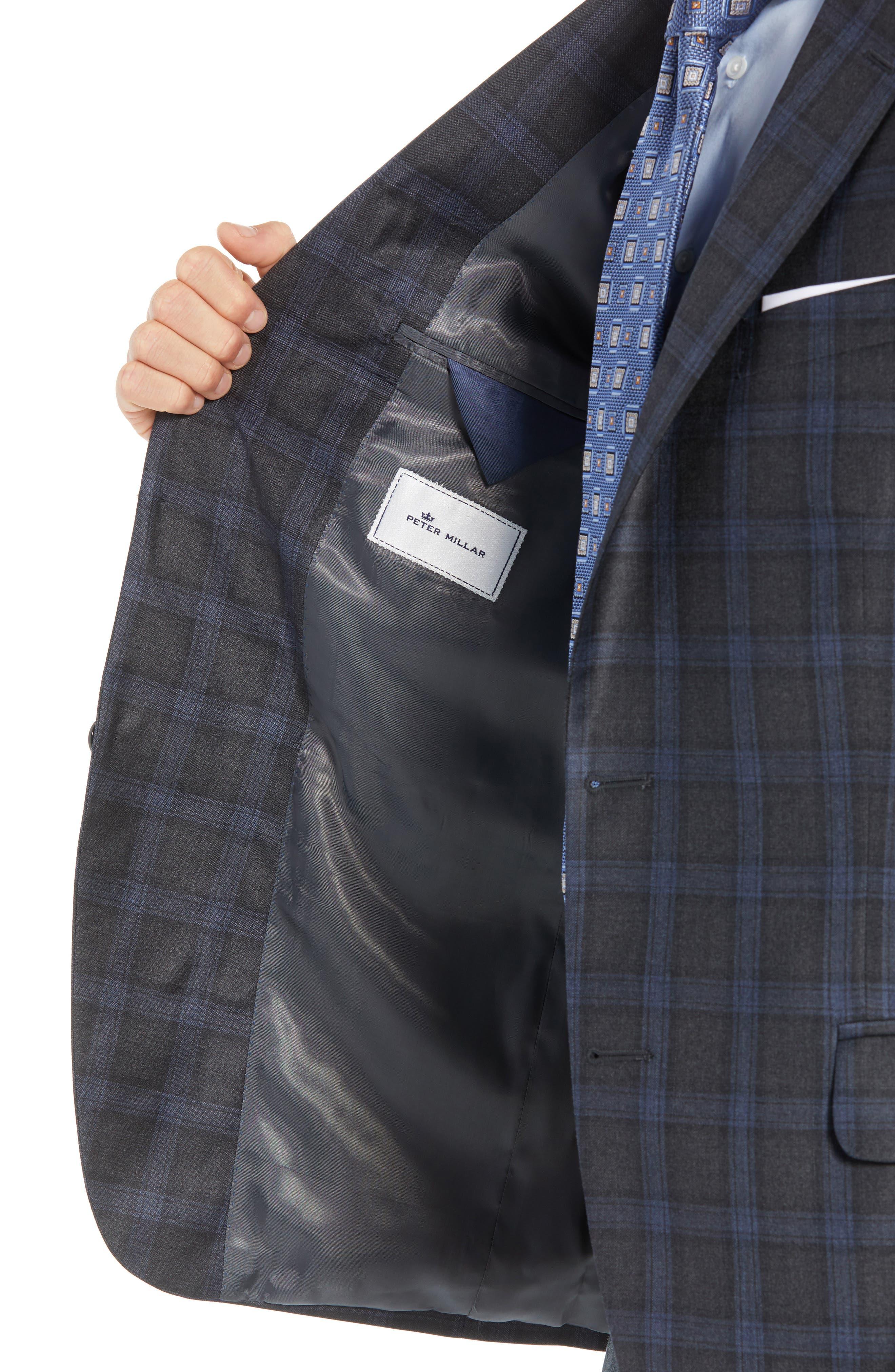 Classic Fit Windowpane Wool Sport Coat,                             Alternate thumbnail 4, color,                             GREY