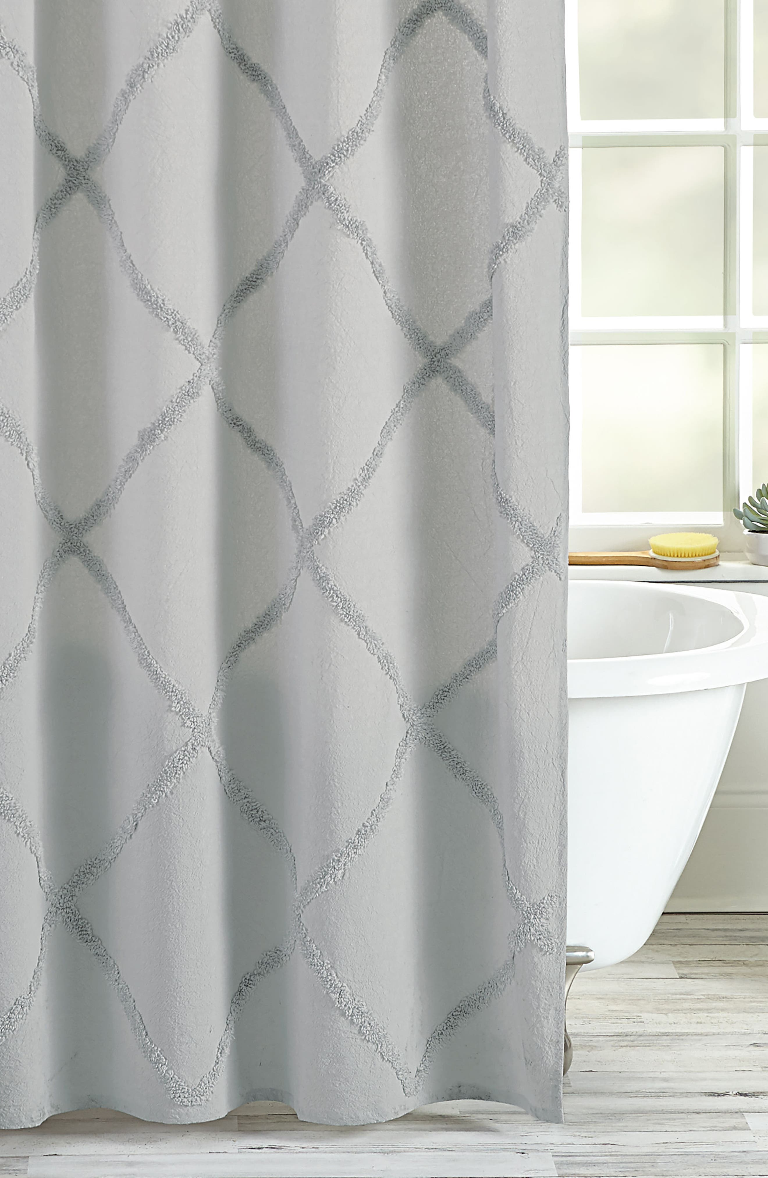 Chenille Lattice Shower Curtain,                             Alternate thumbnail 2, color,                             GREY