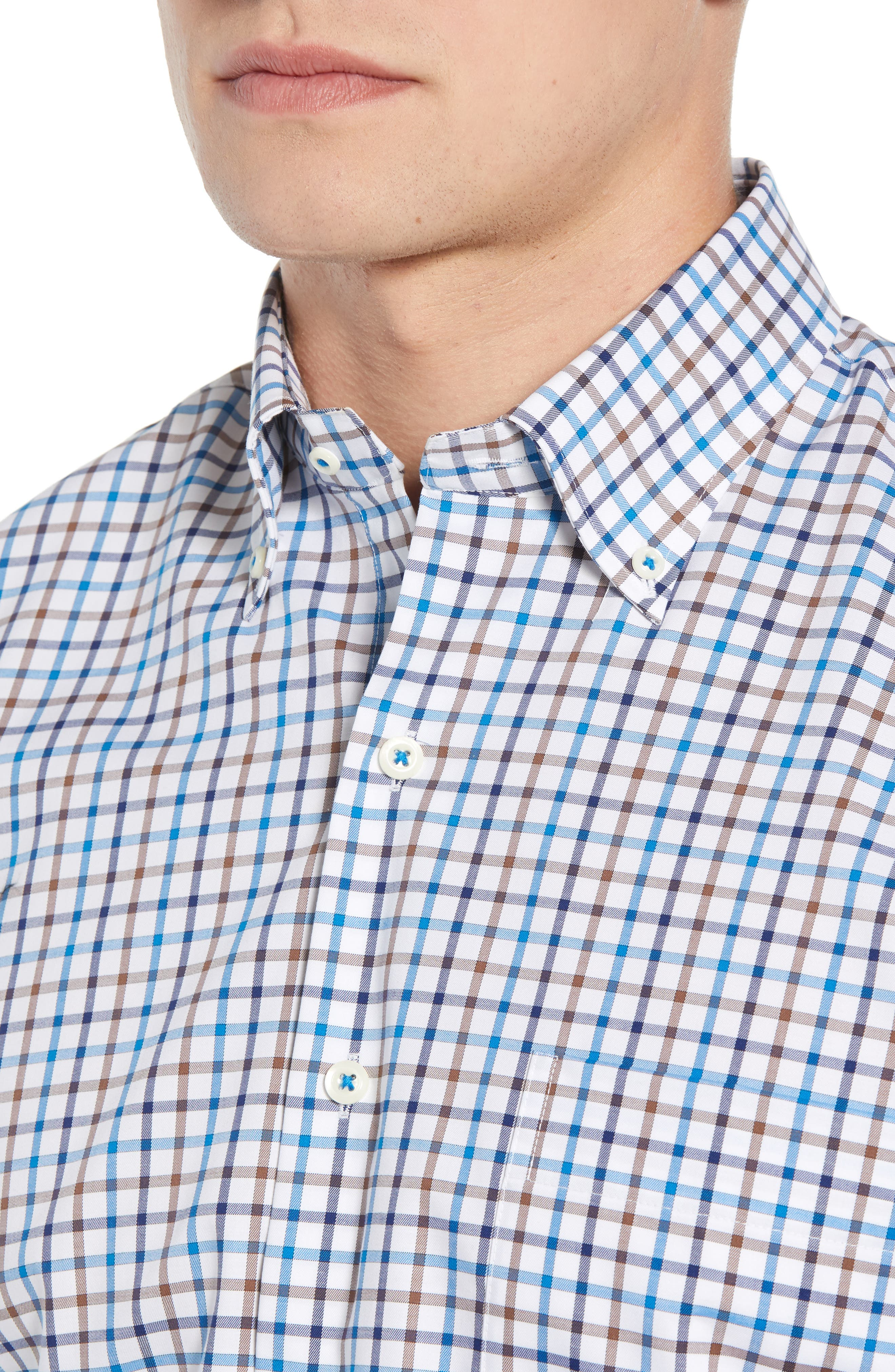 Crown Ease Eyre Regular Fit Tattersall Check Sport Shirt,                             Alternate thumbnail 2, color,                             BLUE
