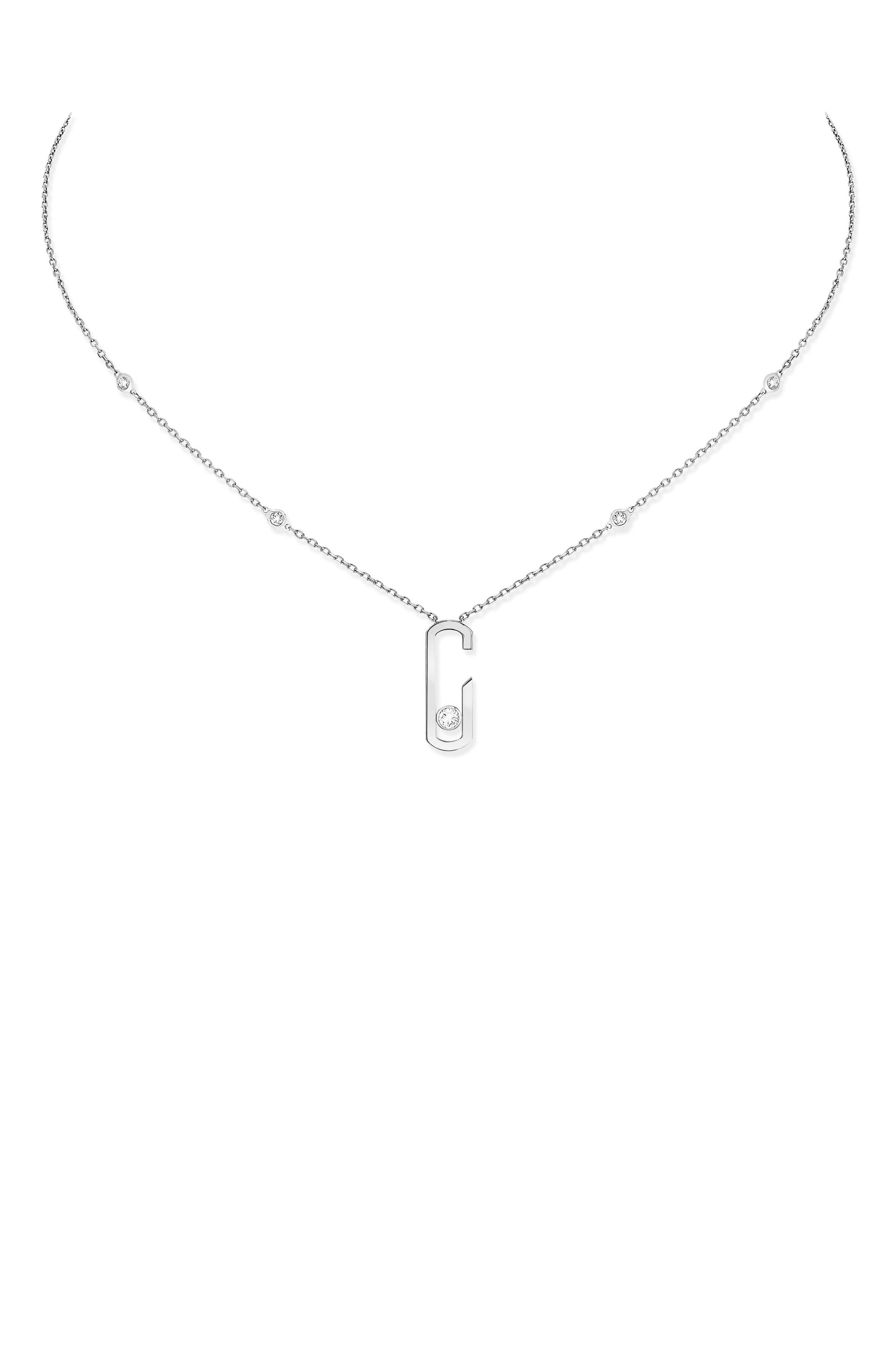 Move Addiction by Gigi Hadid Diamond Station Pendant Necklace,                         Main,                         color, WHITE GOLD