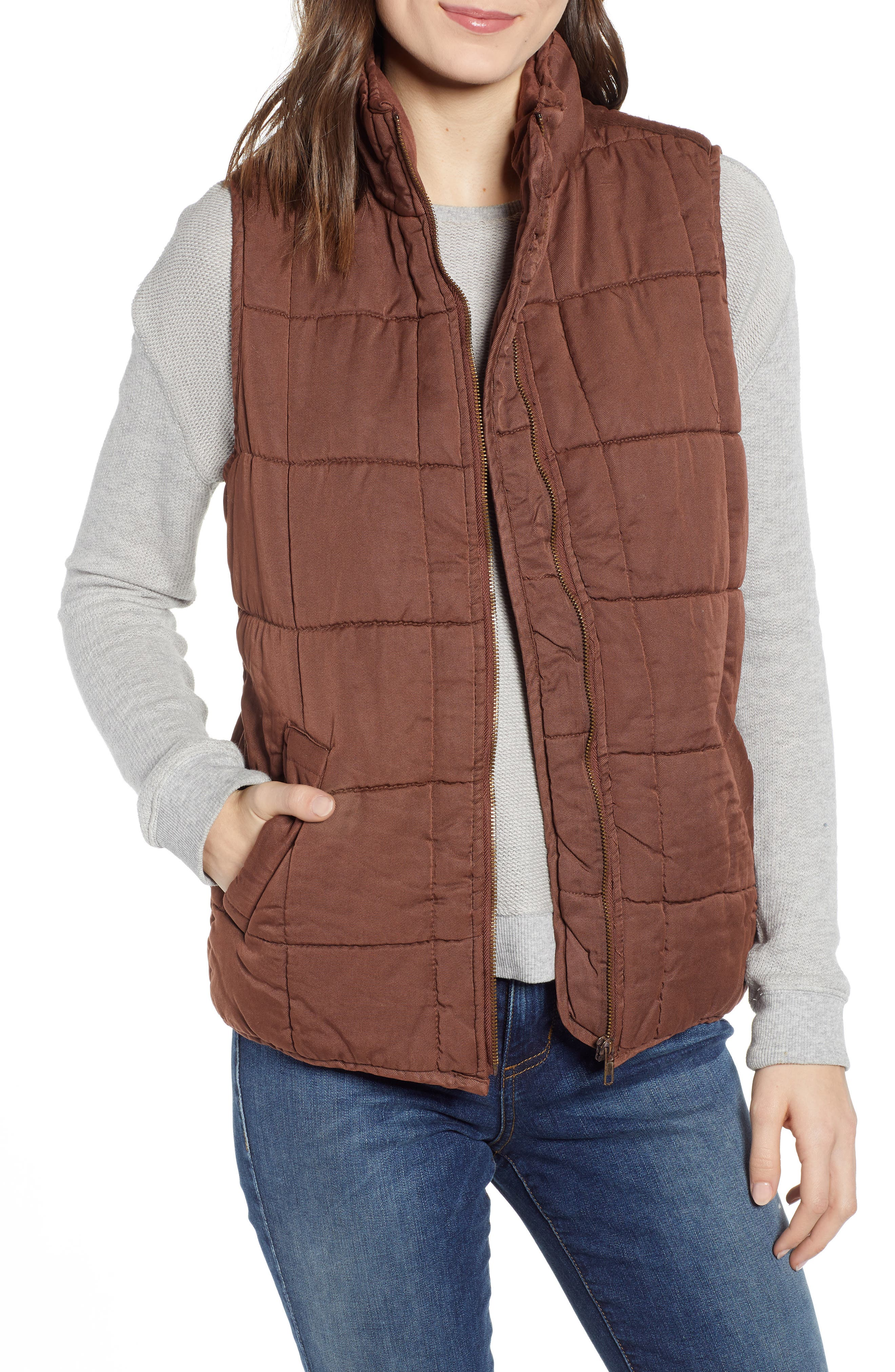 Thread & Supply Kensington Quilted Vest, Brown