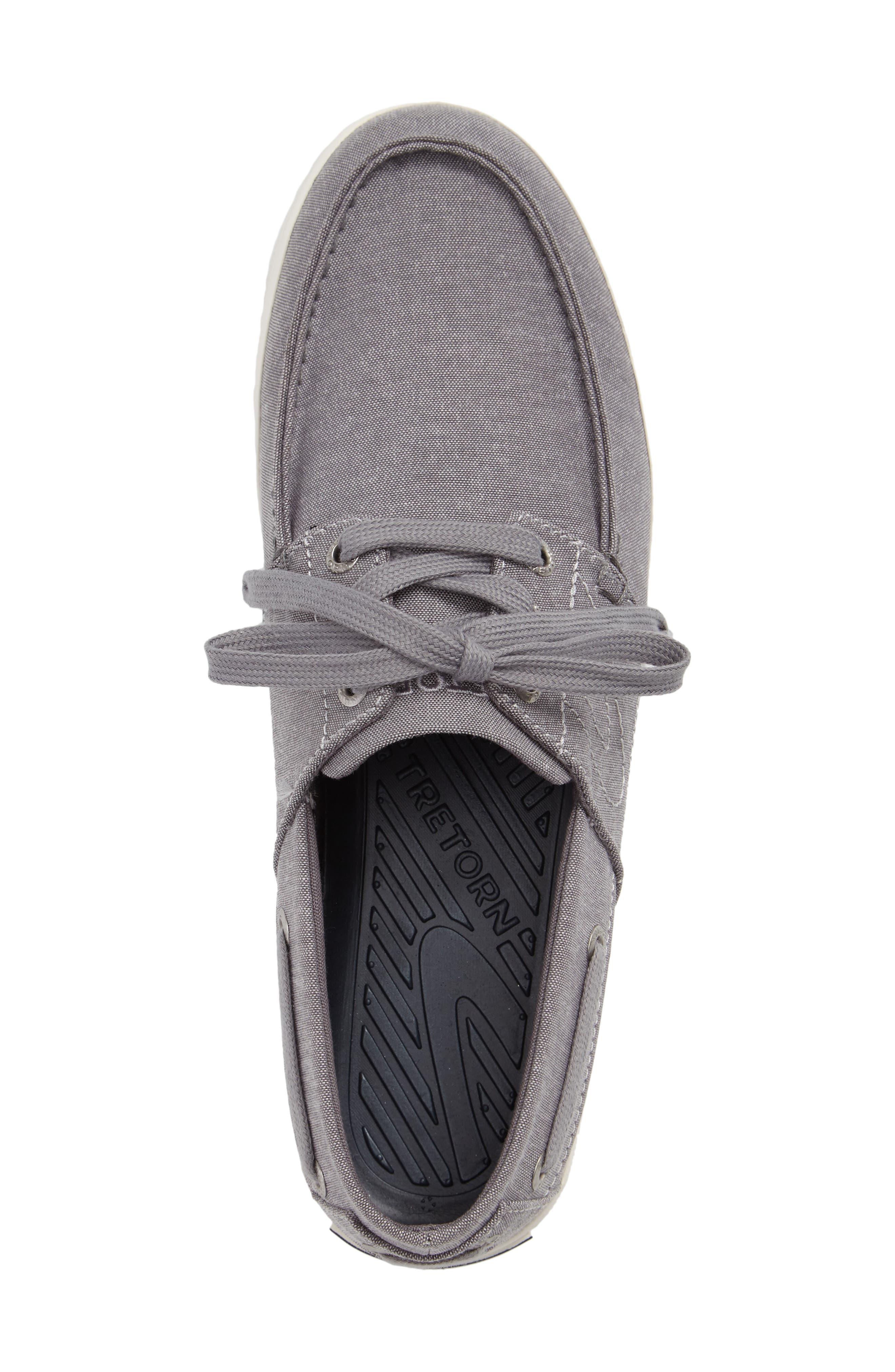 Motto Boat Shoe,                             Alternate thumbnail 3, color,                             GREY CHAMBRAY CANVAS