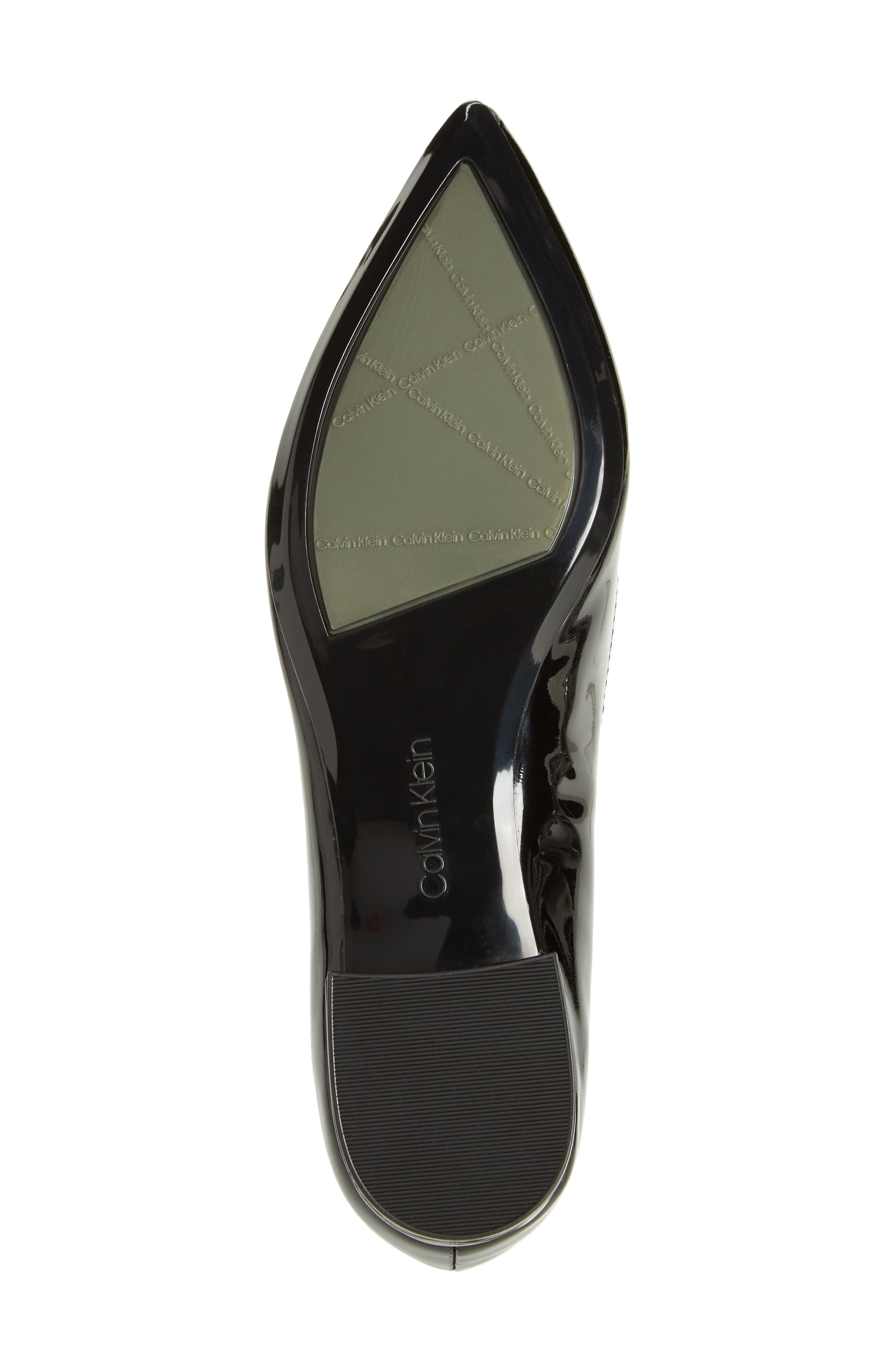 Arline Pointy Toe Flat,                             Alternate thumbnail 6, color,                             BLACK PATENT LEATHER