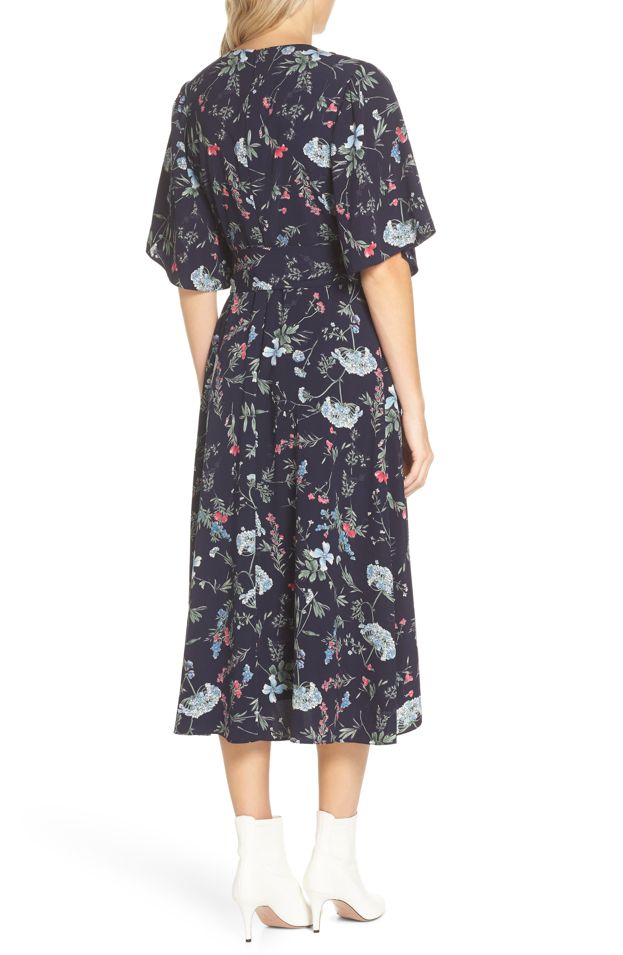 Floral Print Faux Wrap Midi Dress,                             Alternate thumbnail 2, color,                             600
