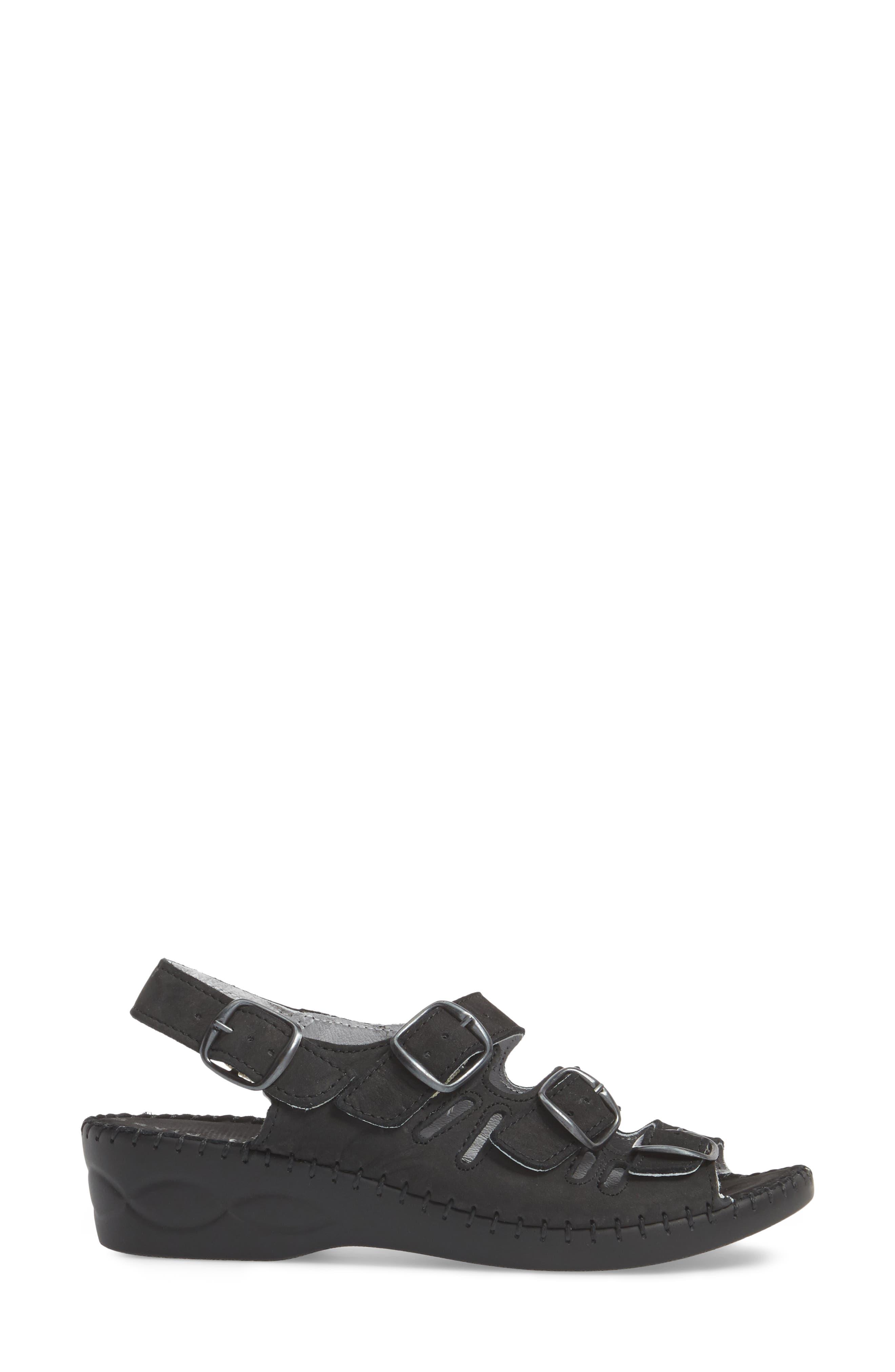 Luna Slingback Wedge Sandal,                             Alternate thumbnail 3, color,                             BLACK NUBUCK