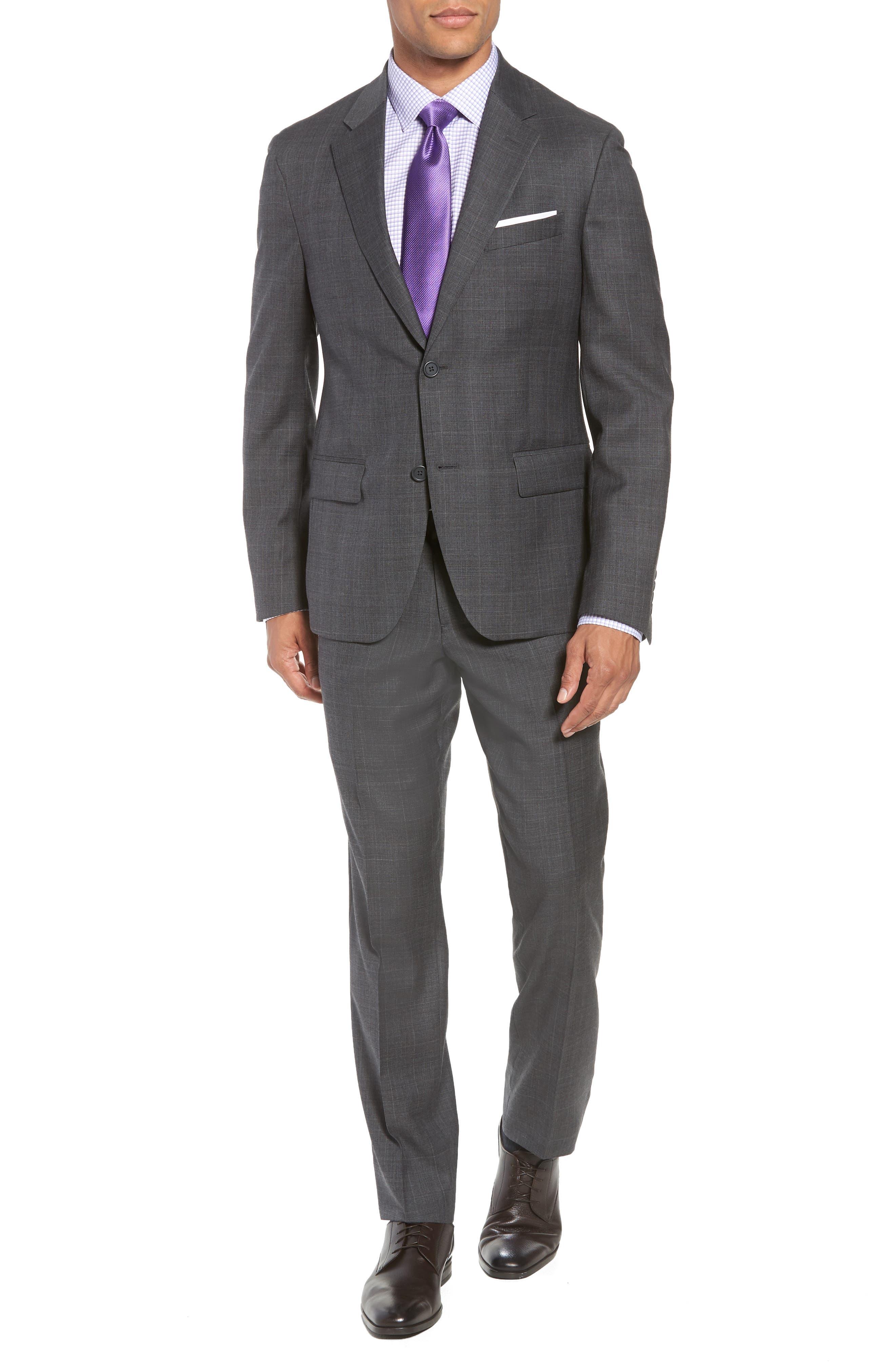 Trim Fit Plaid Wool Suit,                         Main,                         color, 010