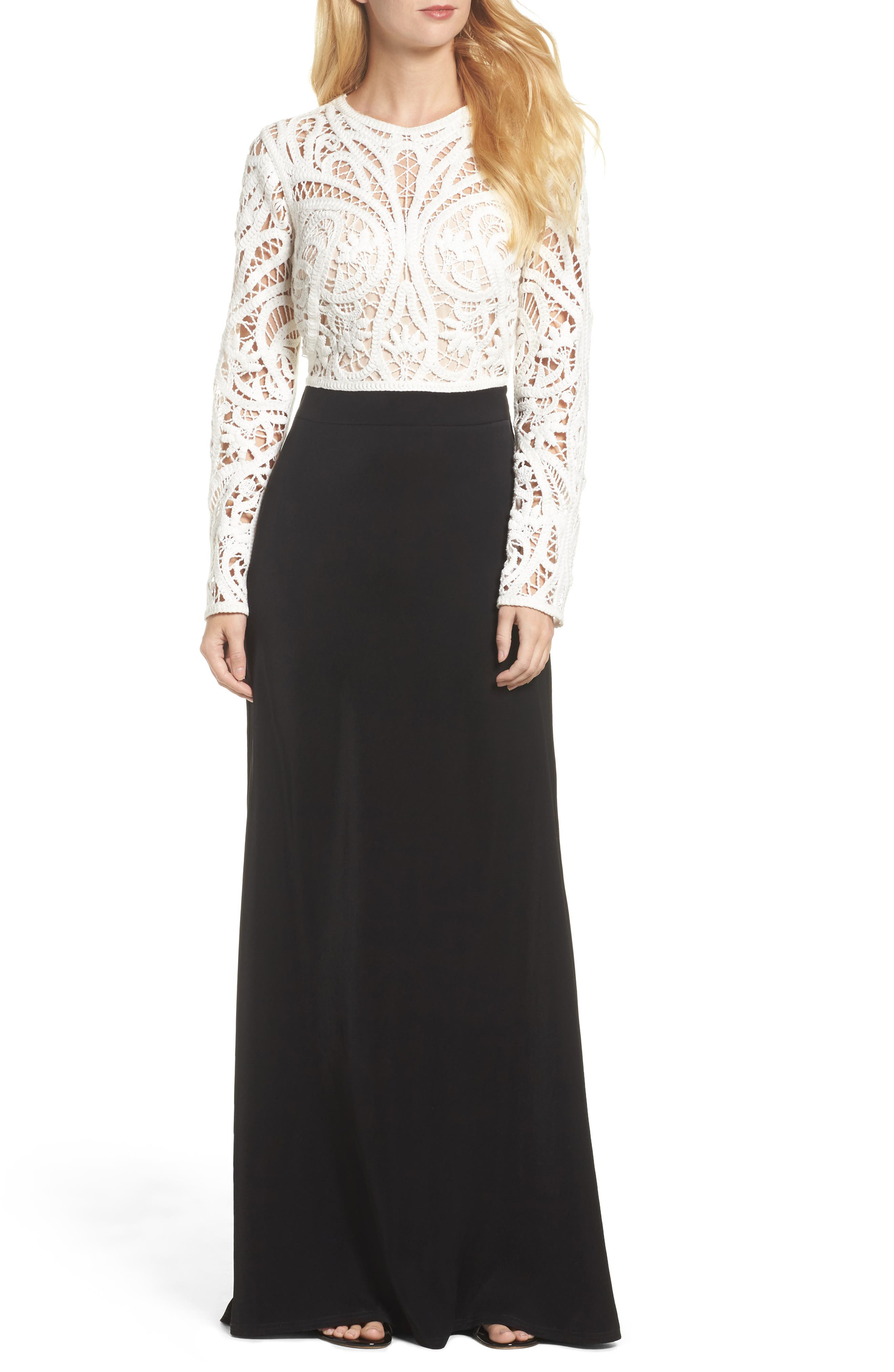 Crochet Lace & Crepe Gown,                             Main thumbnail 1, color,                             IVORY/ BLACK